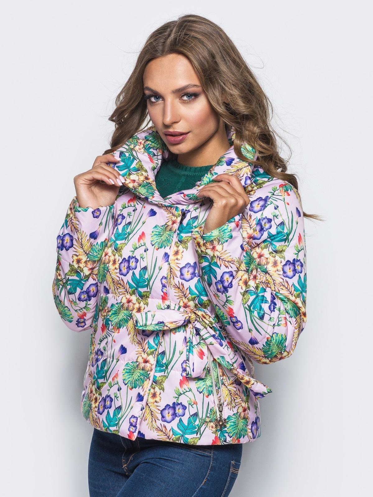 Принтованная куртка на запах с завязками сбоку розовая - 15660, фото 1 – интернет-магазин Dressa