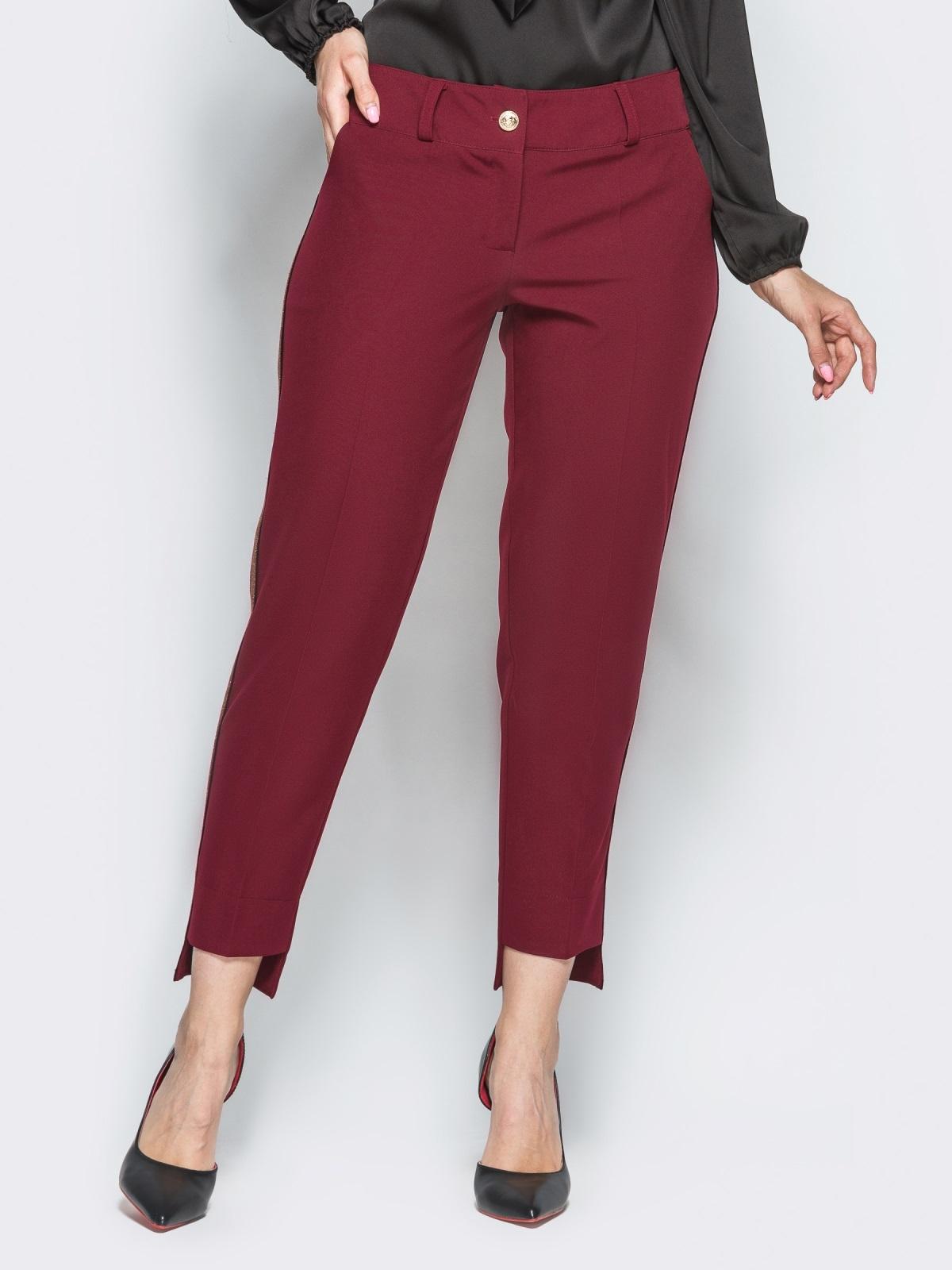 Брюки бордового цвета с укороченным передом - 16314, фото 1 – интернет-магазин Dressa