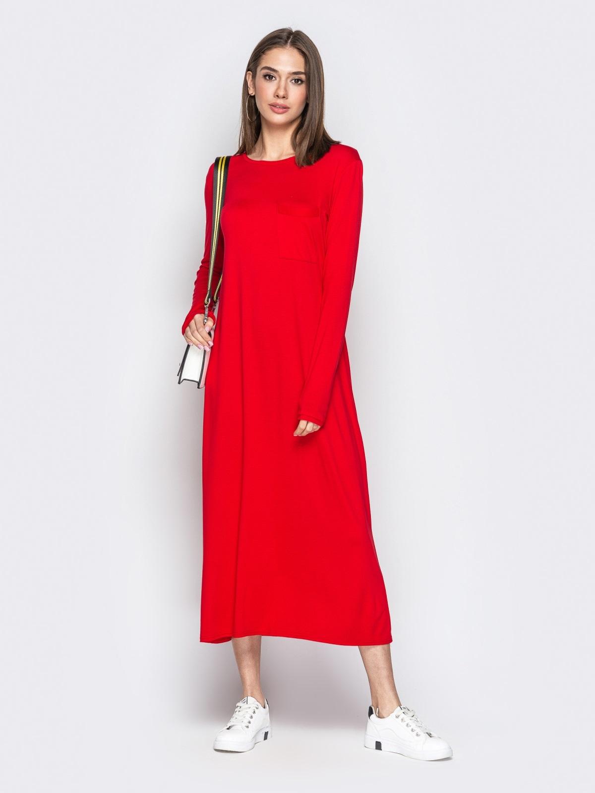 Длинное платье-трапеция с накладным карманом красное - 20652, фото 1 – интернет-магазин Dressa
