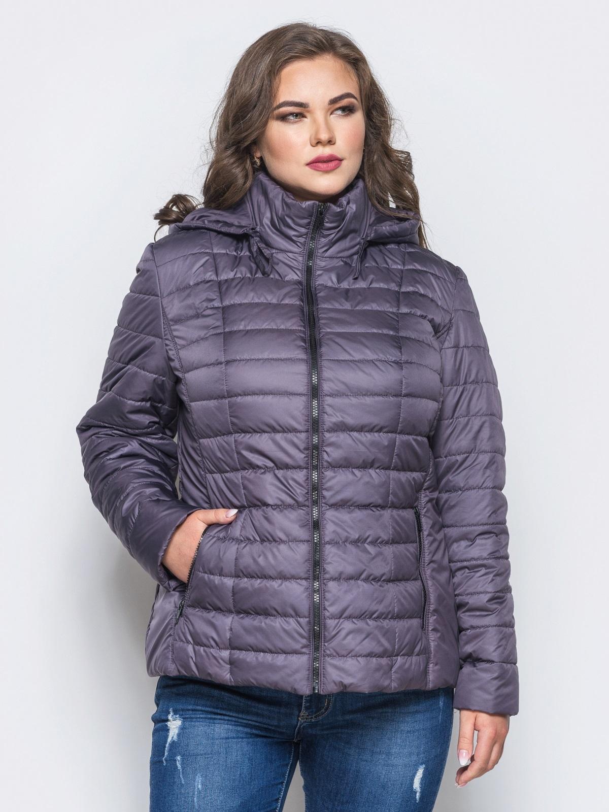 Серая демисезонная куртка батал с съемным капюшоном - 14715, фото 1 – интернет-магазин Dressa