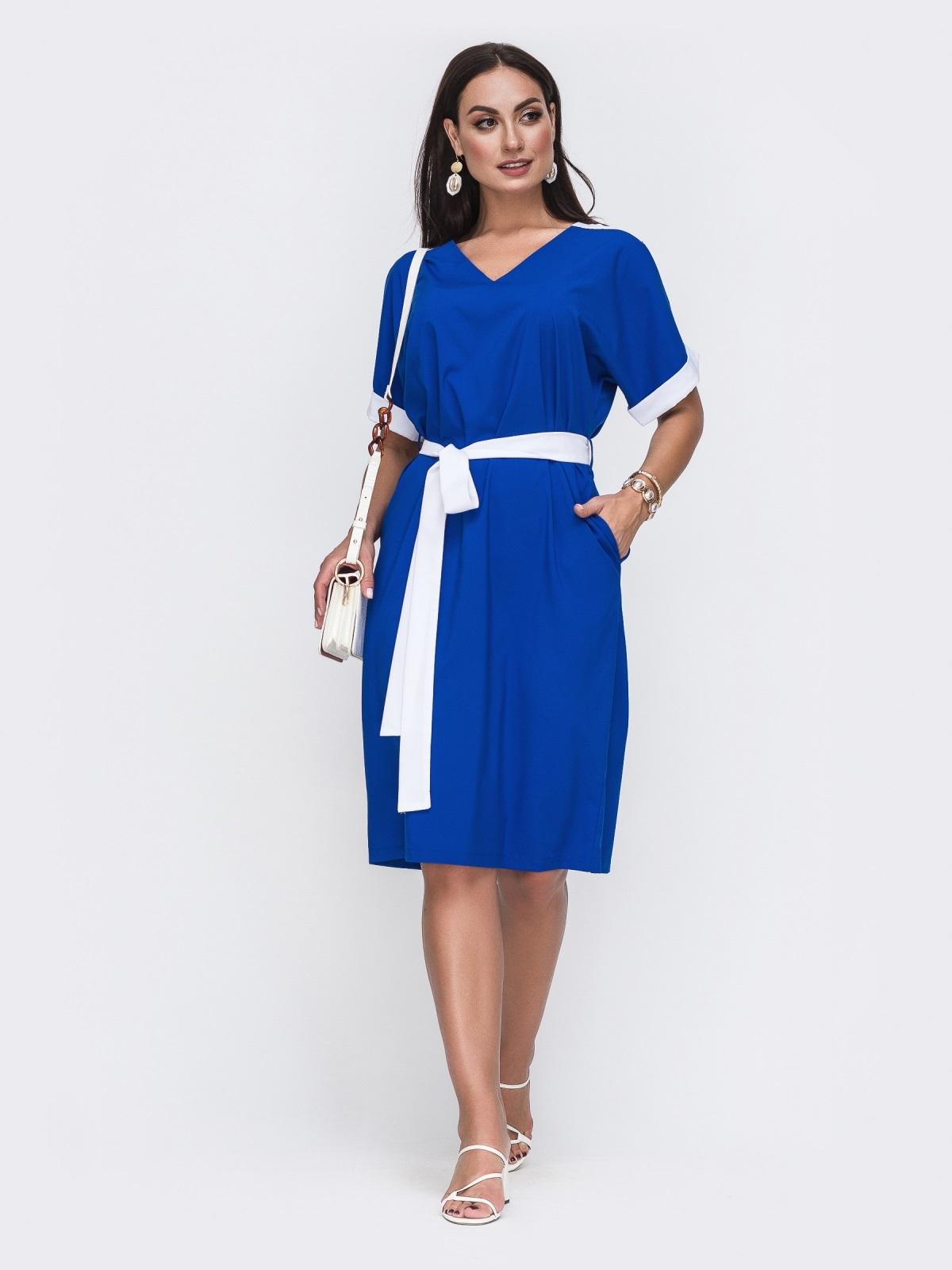 Синее платье батал с контрастными вставками и перфорацией 49732, фото 1