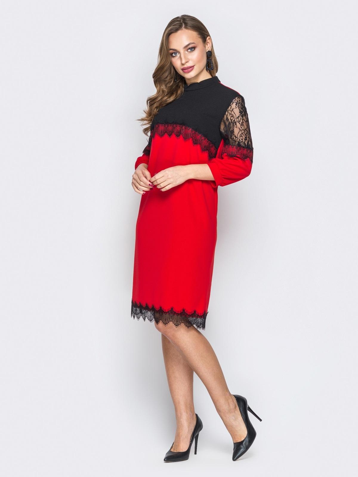 Красное платье с контрастной кокеткой и кружевом 20033, фото 1