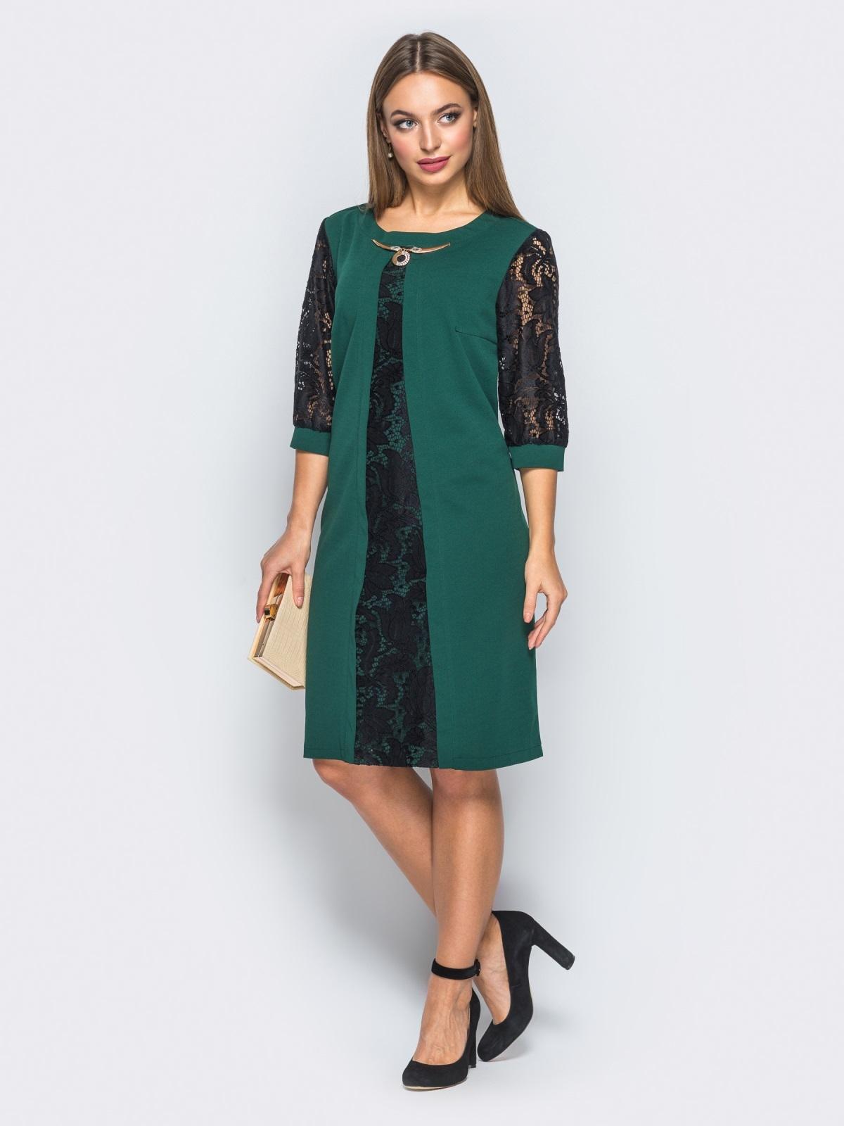 Платье с гипюром и фурниторой на полочке зелёное - 18144, фото 1 – интернет-магазин Dressa