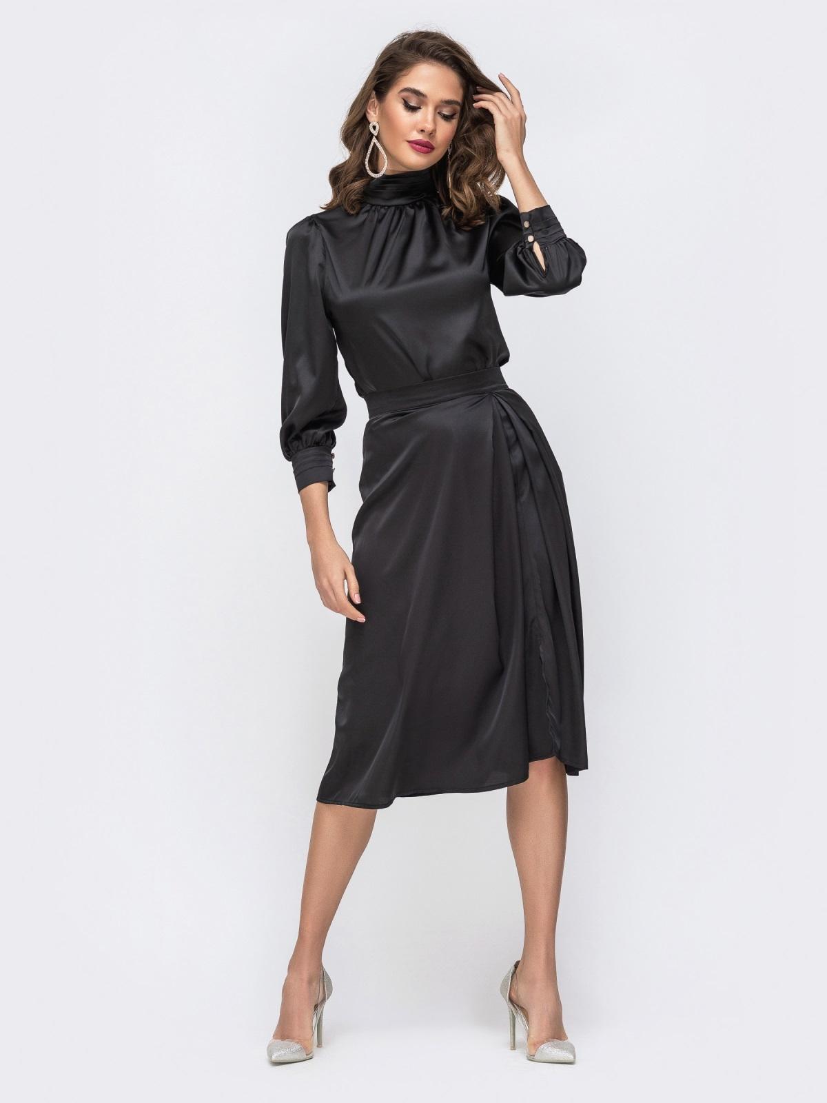 Шелковый комплект из блузки и расклешенной юбки чёрный 42917, фото 1