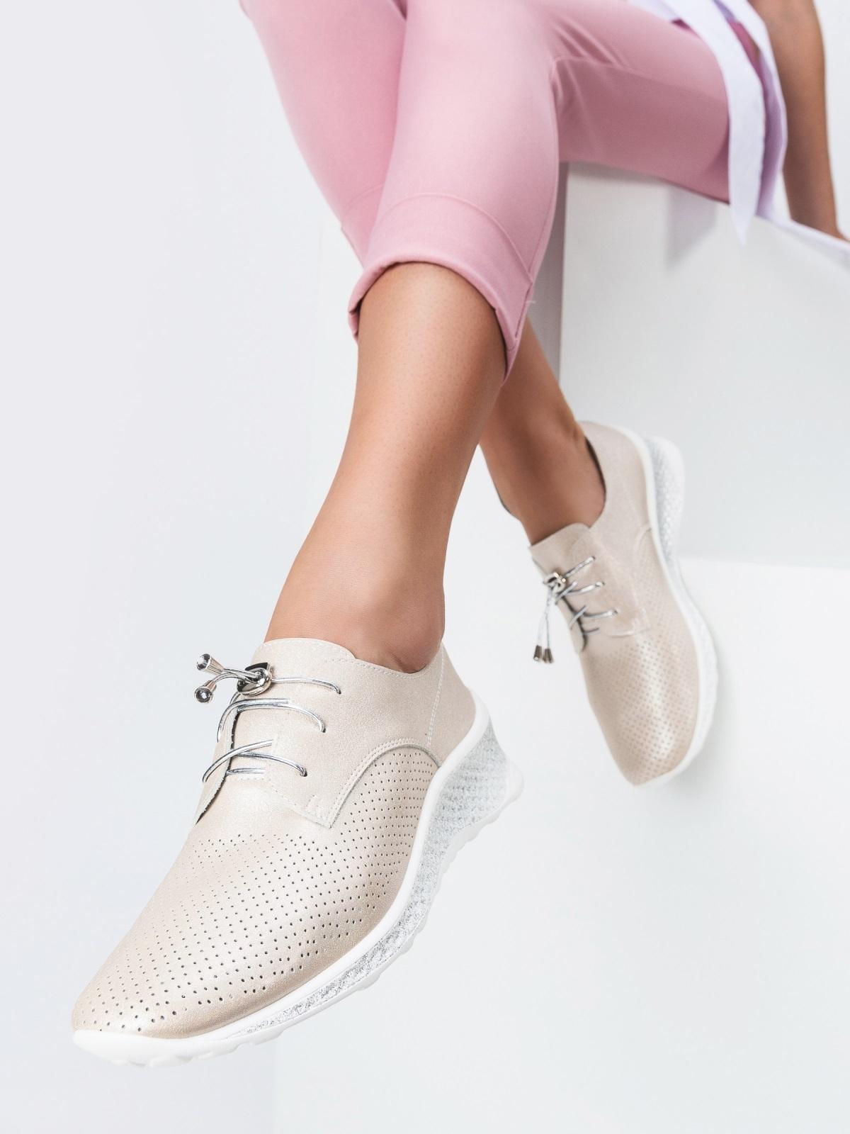 Кроссовки из искусственной кожи с перфорацией бежевые 45498, фото 1