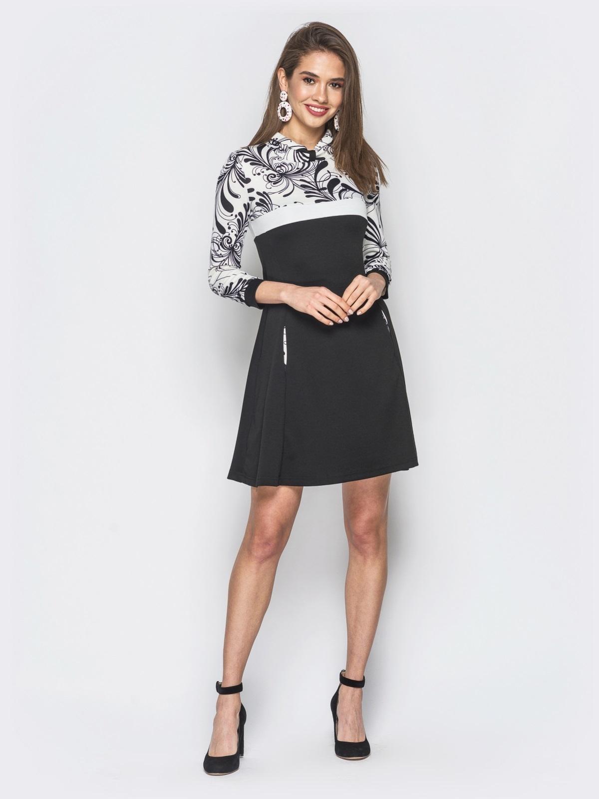 Платье черного цвета с контрастной вставкой - 18806, фото 1 – интернет-магазин Dressa