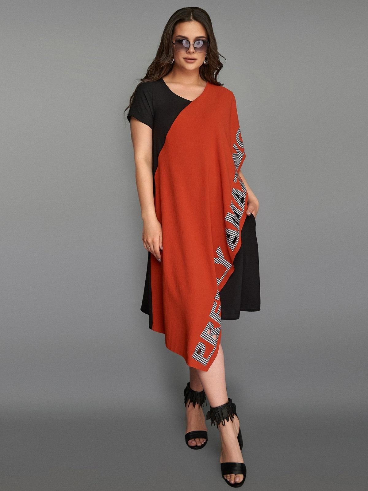 Асимметричное платье большого размера с контрастными вставками терракотовое 49283, фото 1