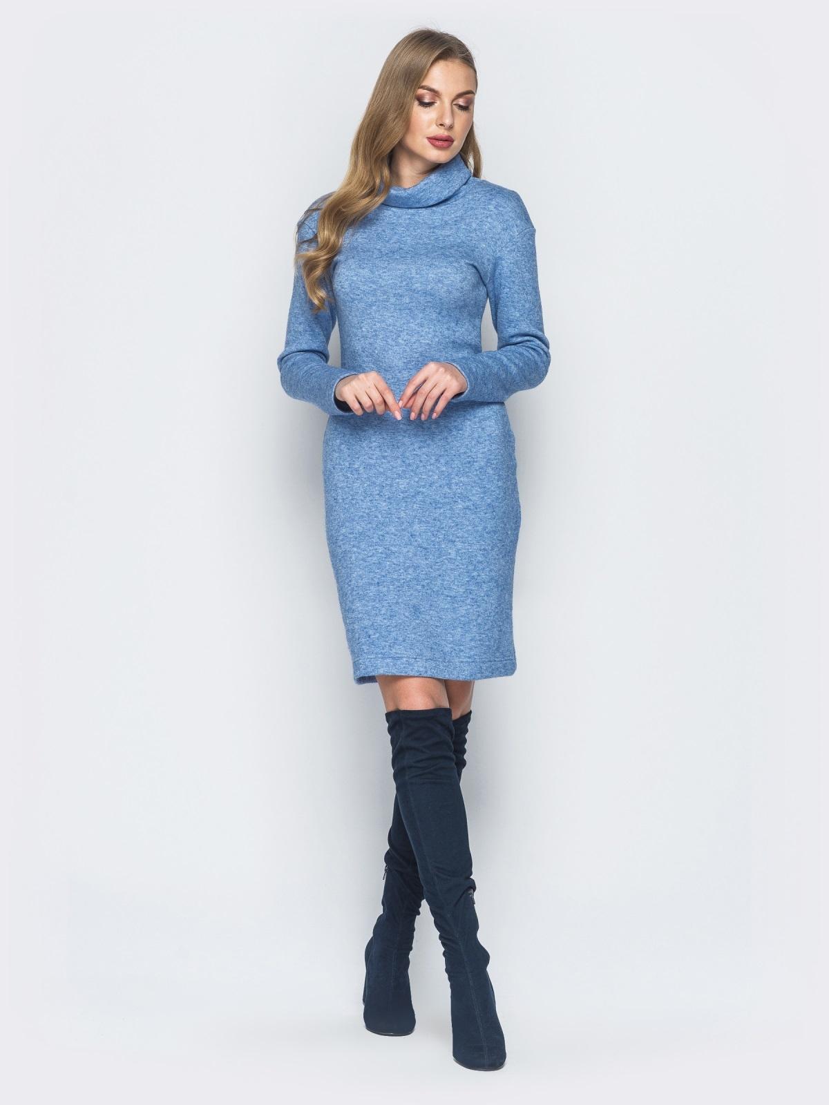 Платье-гольф голубого цвета из ангоры - 18682, фото 1 – интернет-магазин Dressa