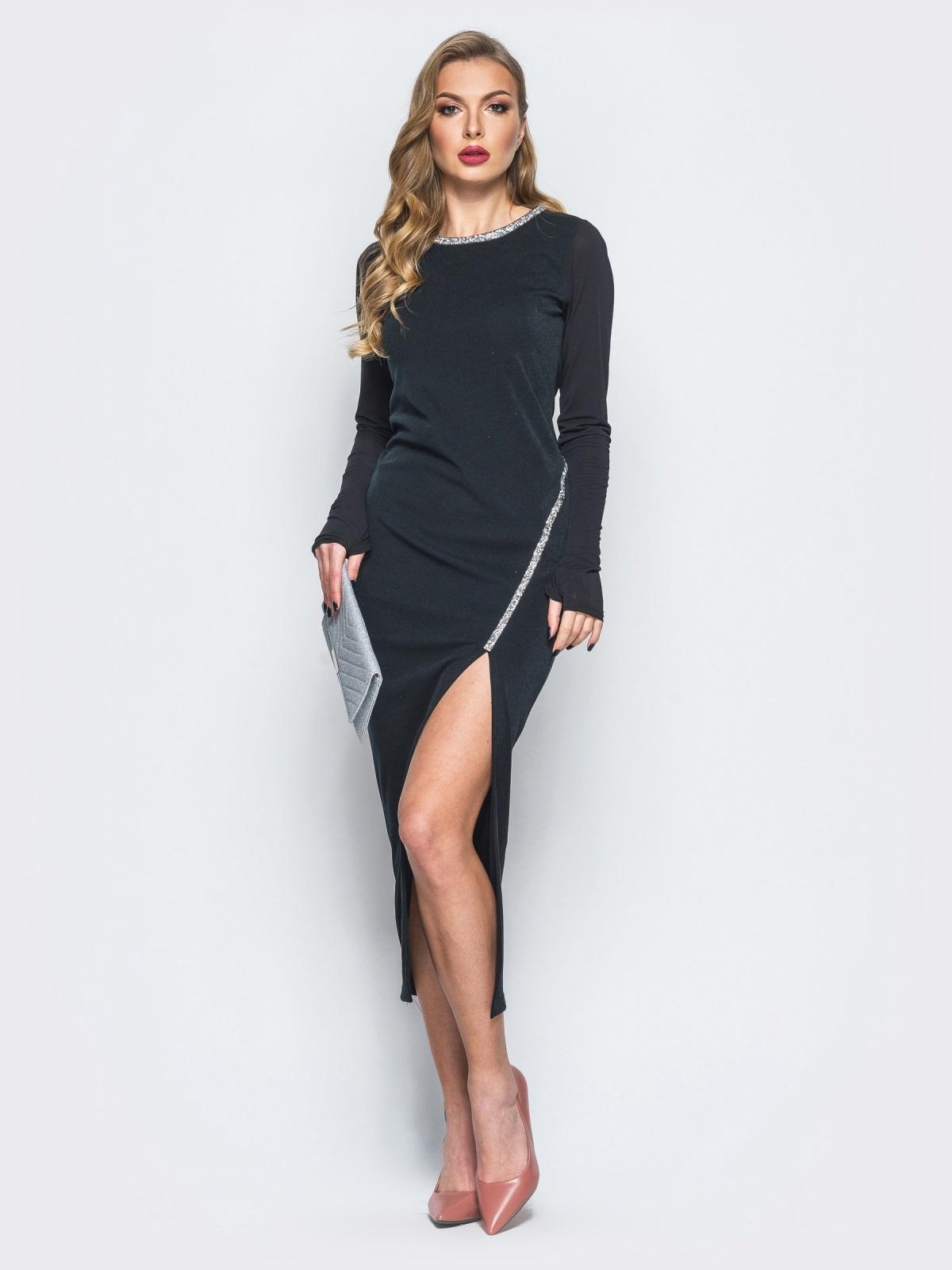 Трикотажное платье с рукавами-митенками черное - 18064, фото 1 – интернет-магазин Dressa