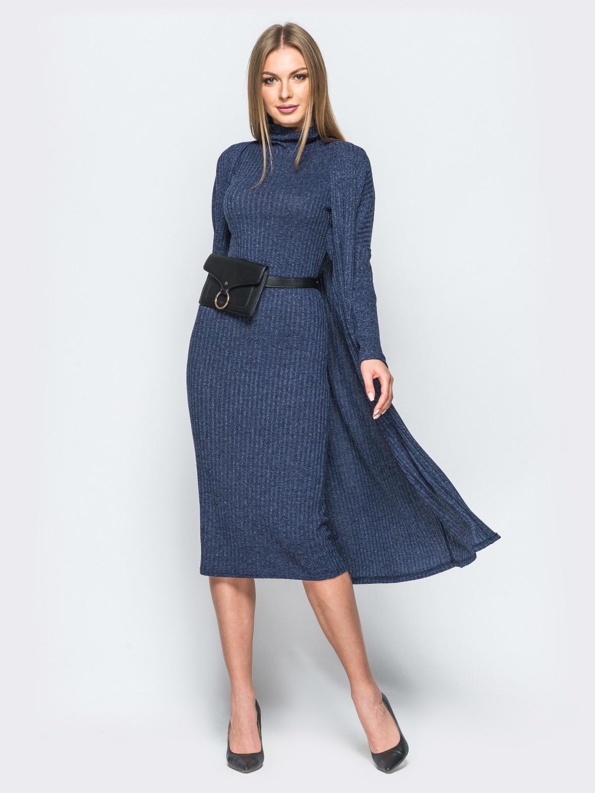 Трикотажный комплект с платьем-гольф и кардиганом тёмно-синий - 17470, фото 1 – интернет-магазин Dressa