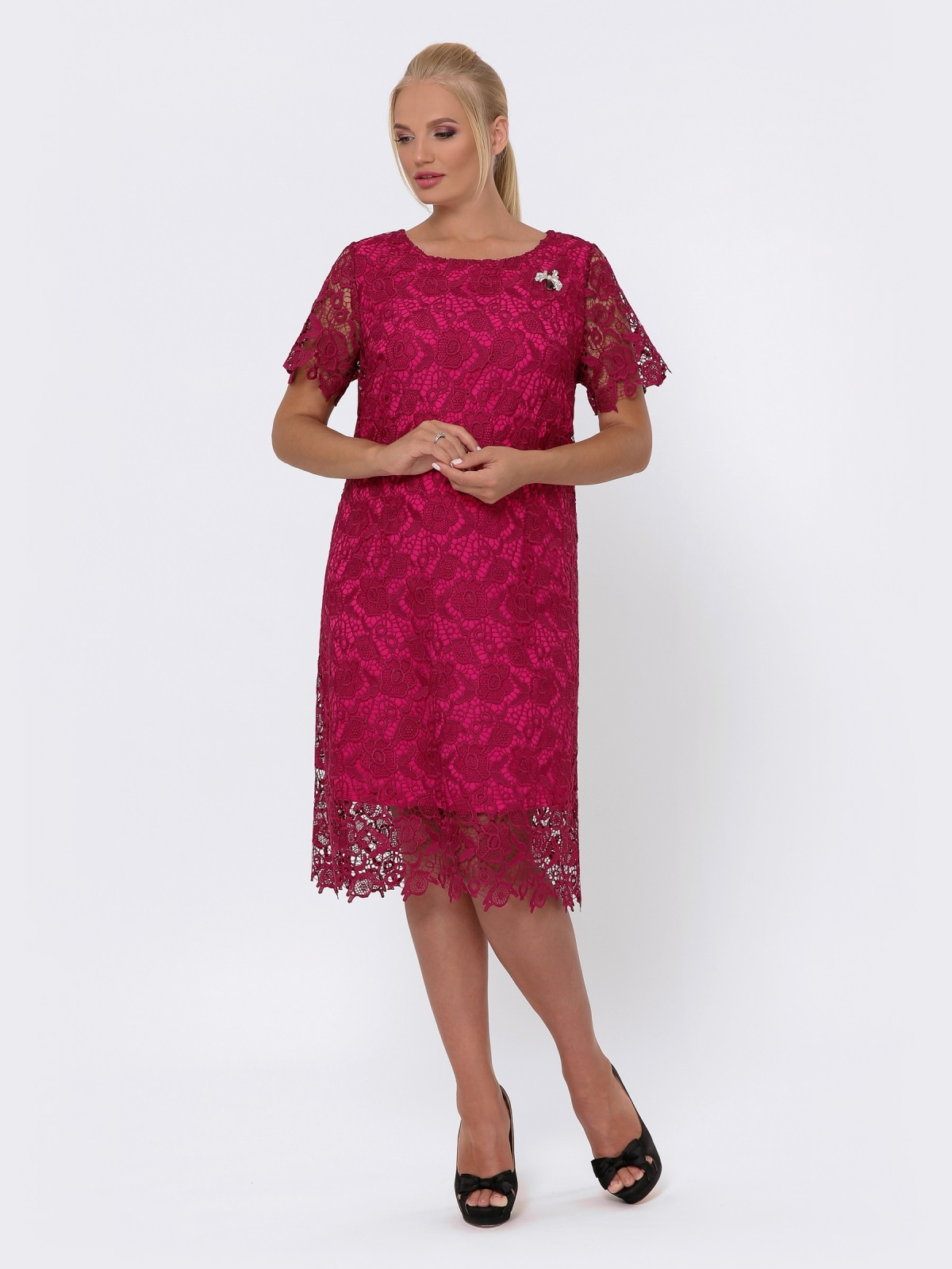 Бордовое платье прямого кроя из кружева 42704, фото 1