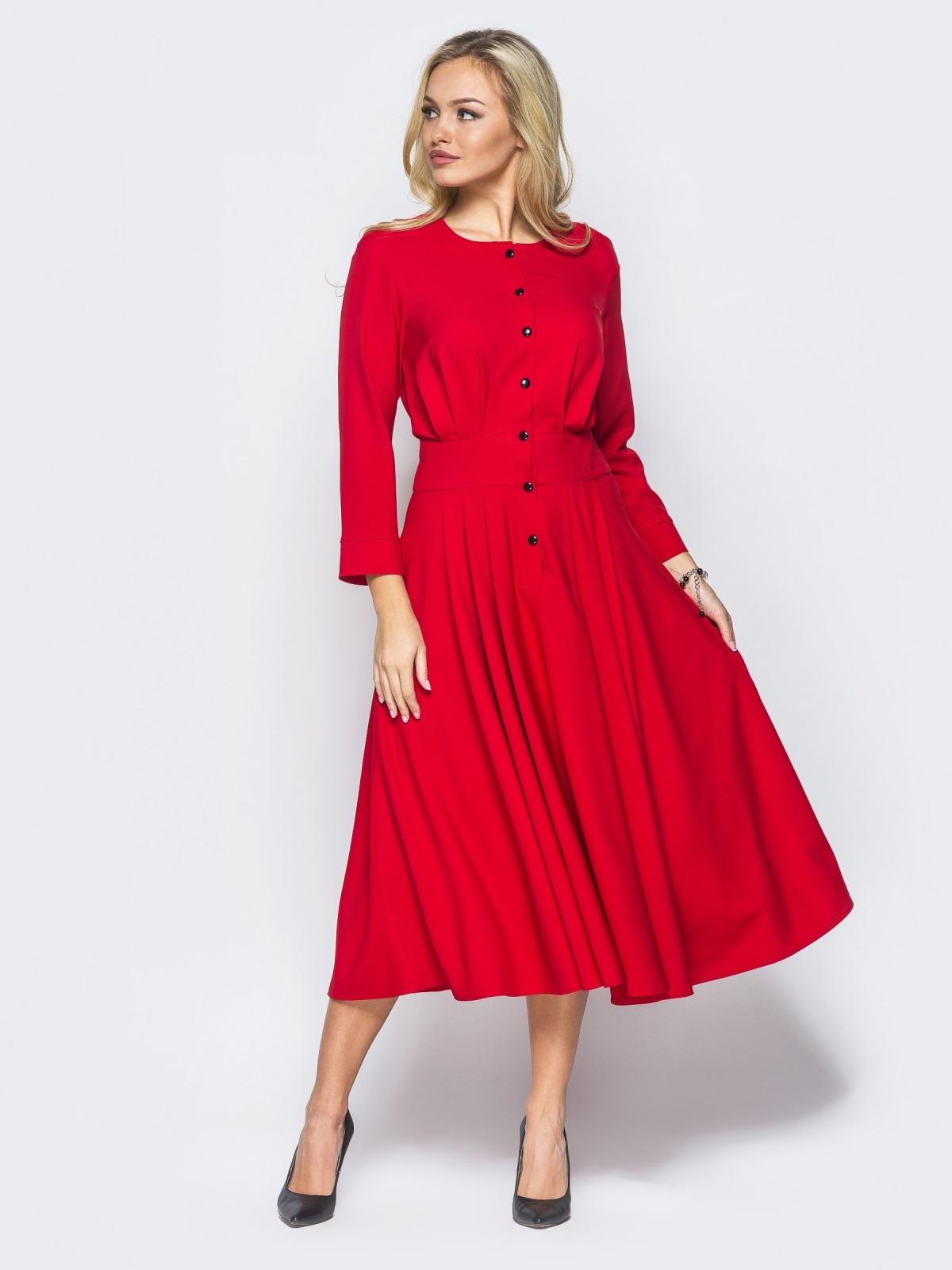 12fd773ed89d Красное платье со вшитым поясом и расклешенной юбкой - 15680, фото 1 –  интернет-