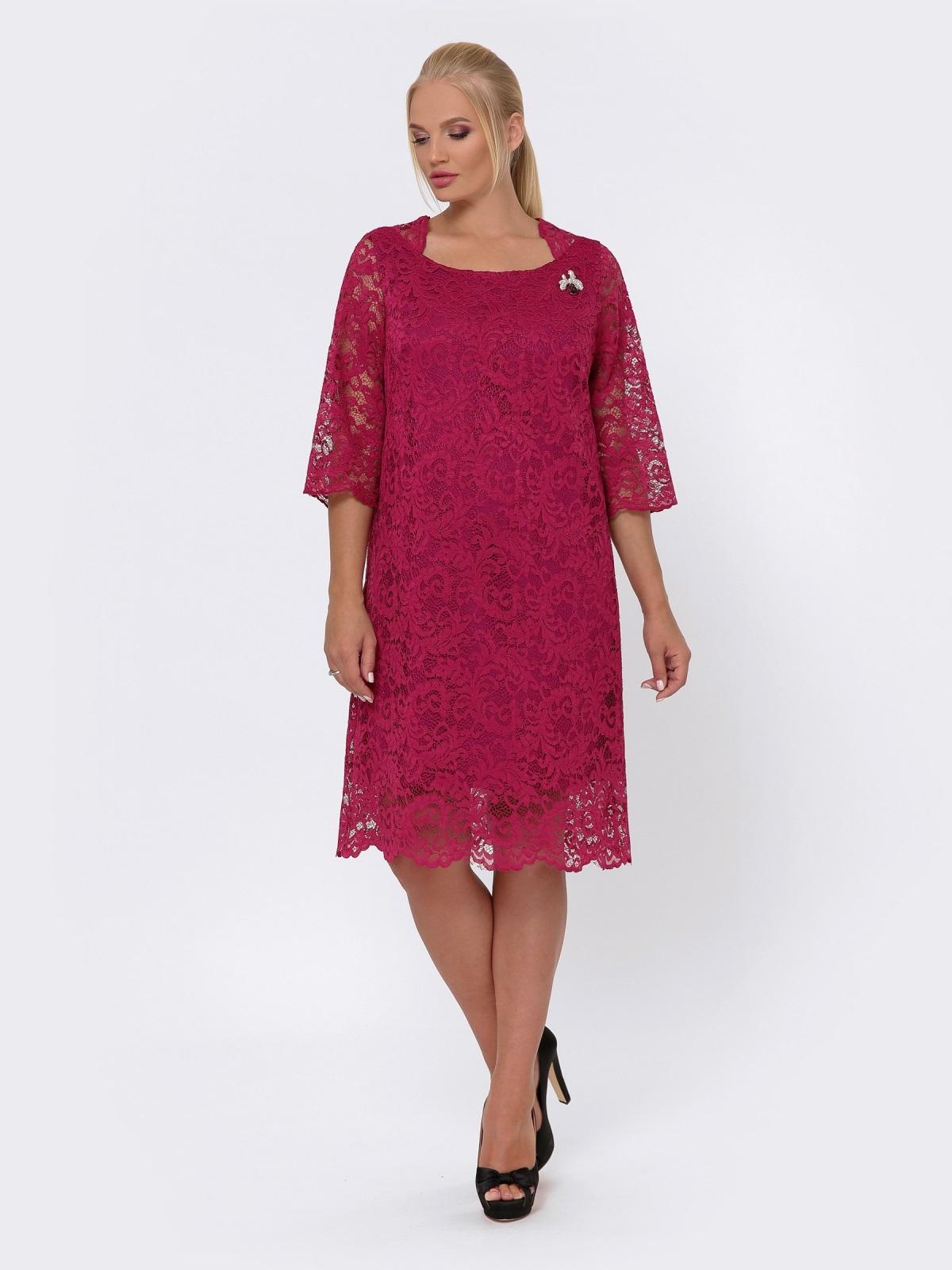 Платье-миди из кружева с рукавом 3/4 бордовое 42702, фото 1