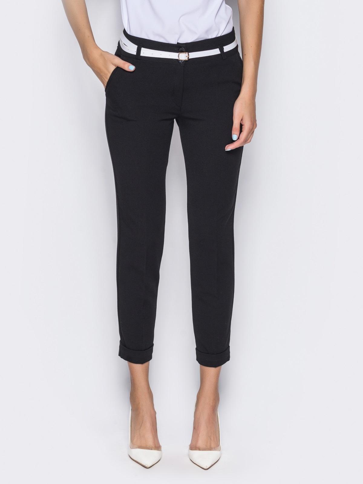 Укороченные брюки со шлёвками для пояса черные - 14403, фото 3 – интернет-магазин Dressa