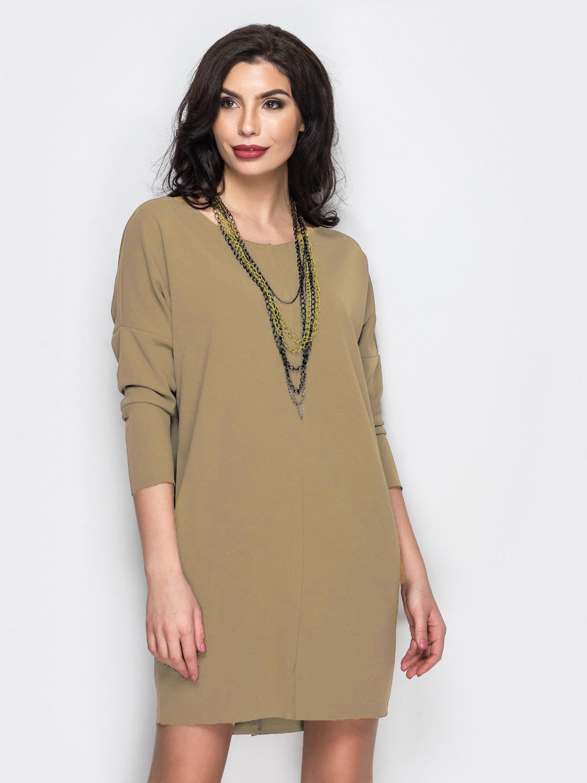 Платье с необработанными швами бежевое - 13812, фото 1 – интернет-магазин Dressa
