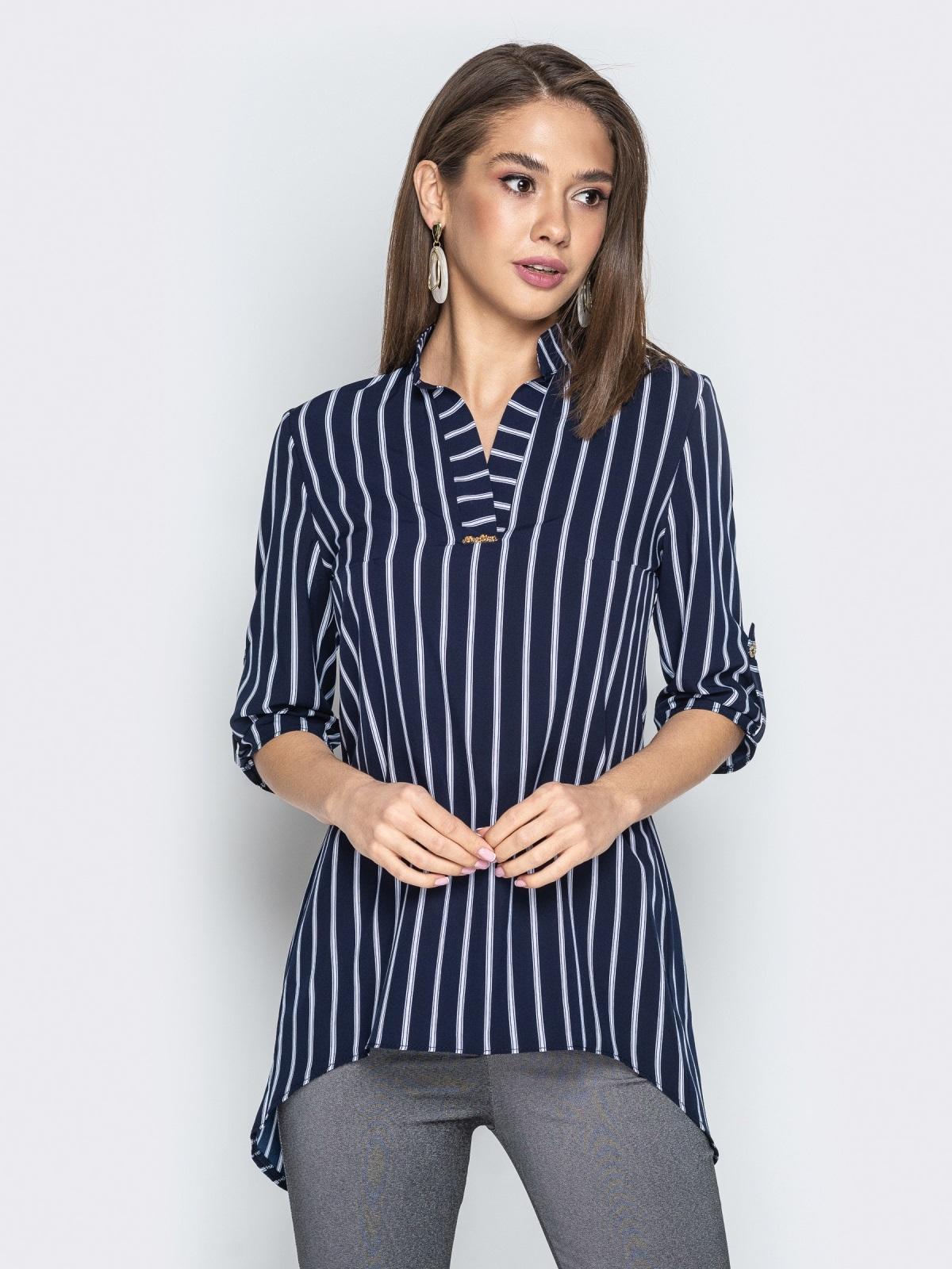 Синяя блузка из софта в полоску с удлиненной спинкой - 21377, фото 1 – интернет-магазин Dressa