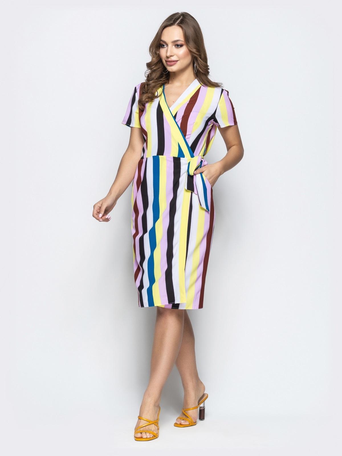 Желтое платье в полоску на запах с карманами - 21493, фото 1 – интернет-магазин Dressa