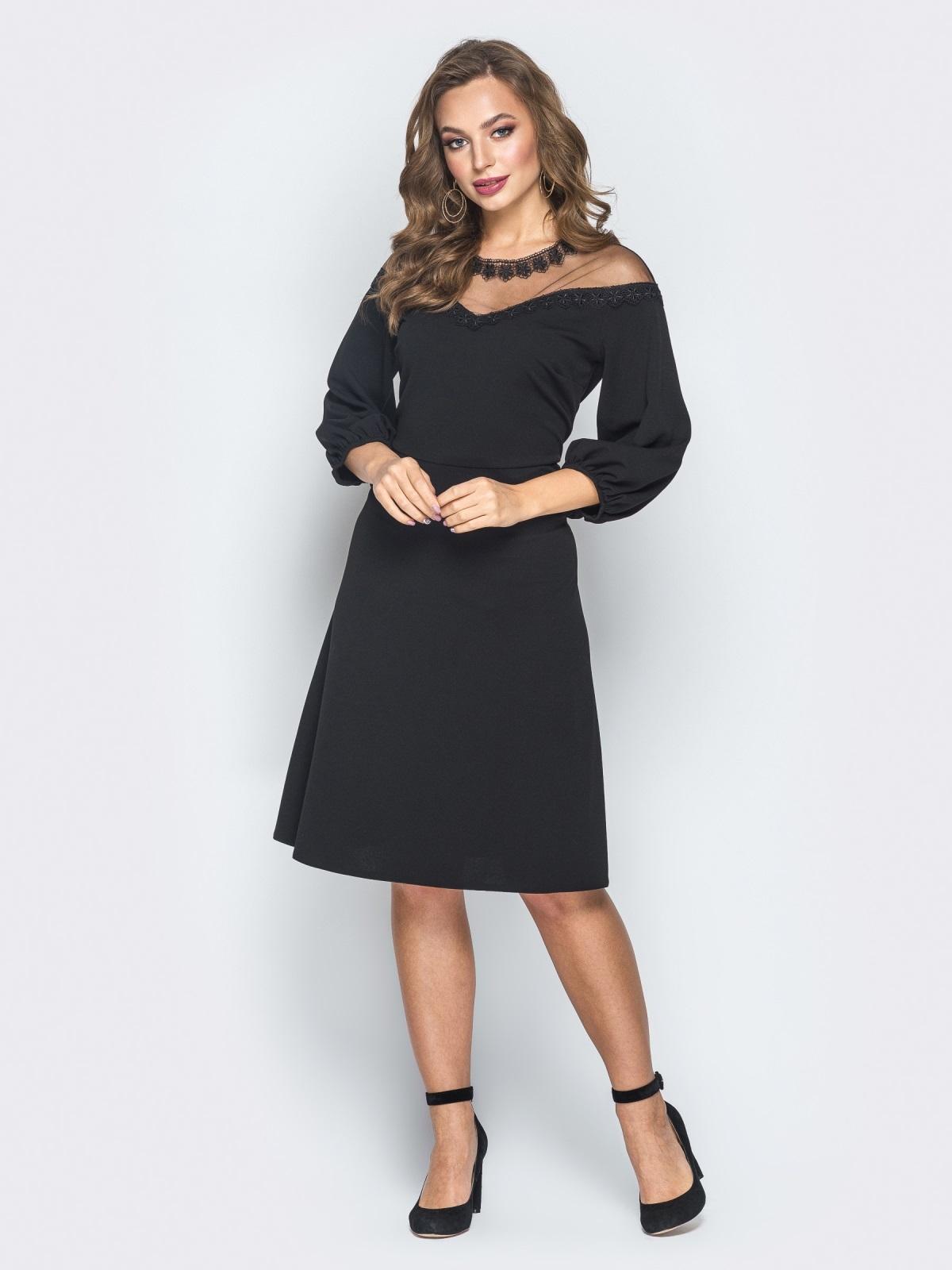 Черное платье с кокеткой из фатина - 18589, фото 1 – интернет-магазин Dressa