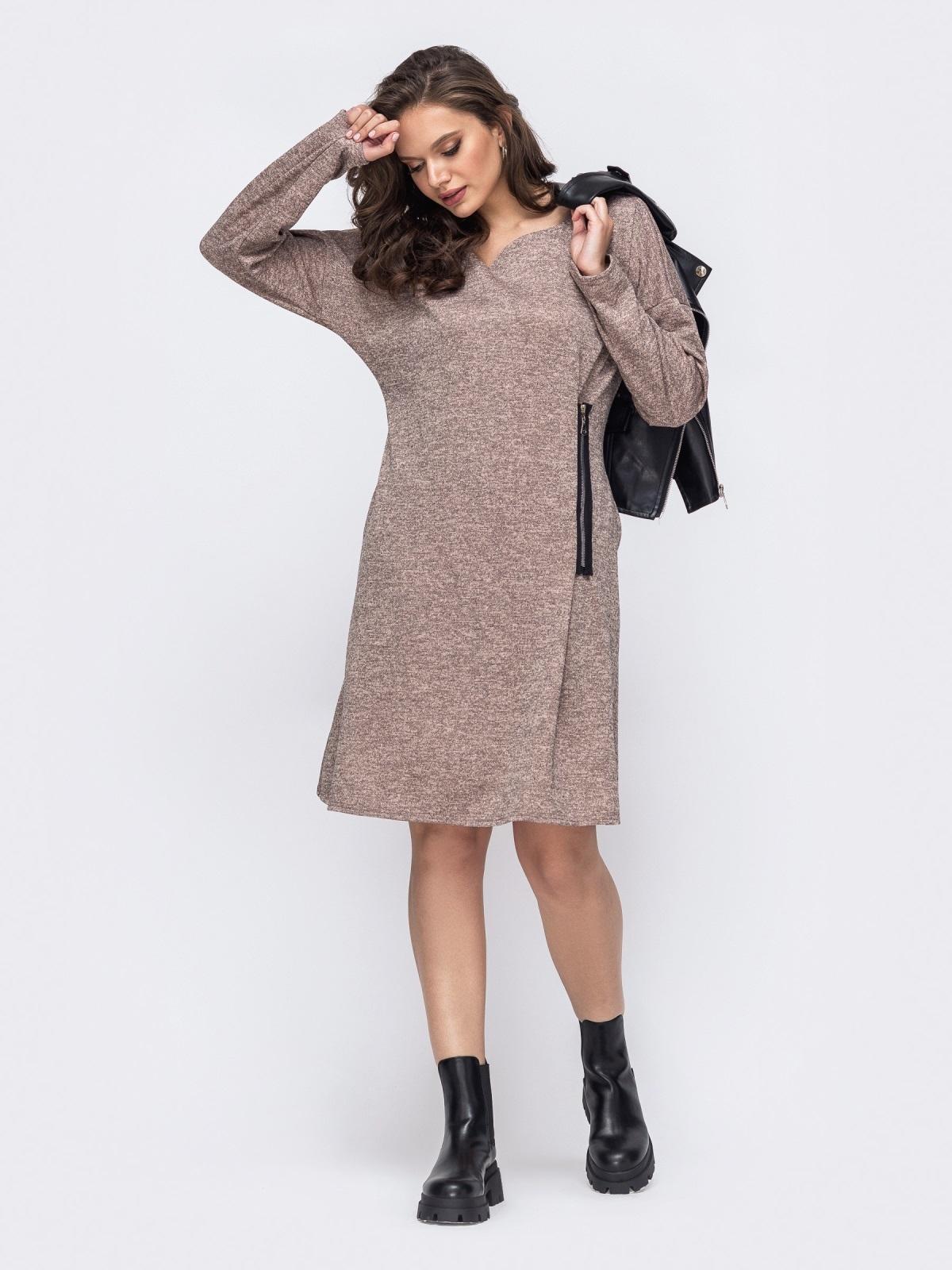 Платье батал цвета пудры с декоративной молнией 51462, фото 1