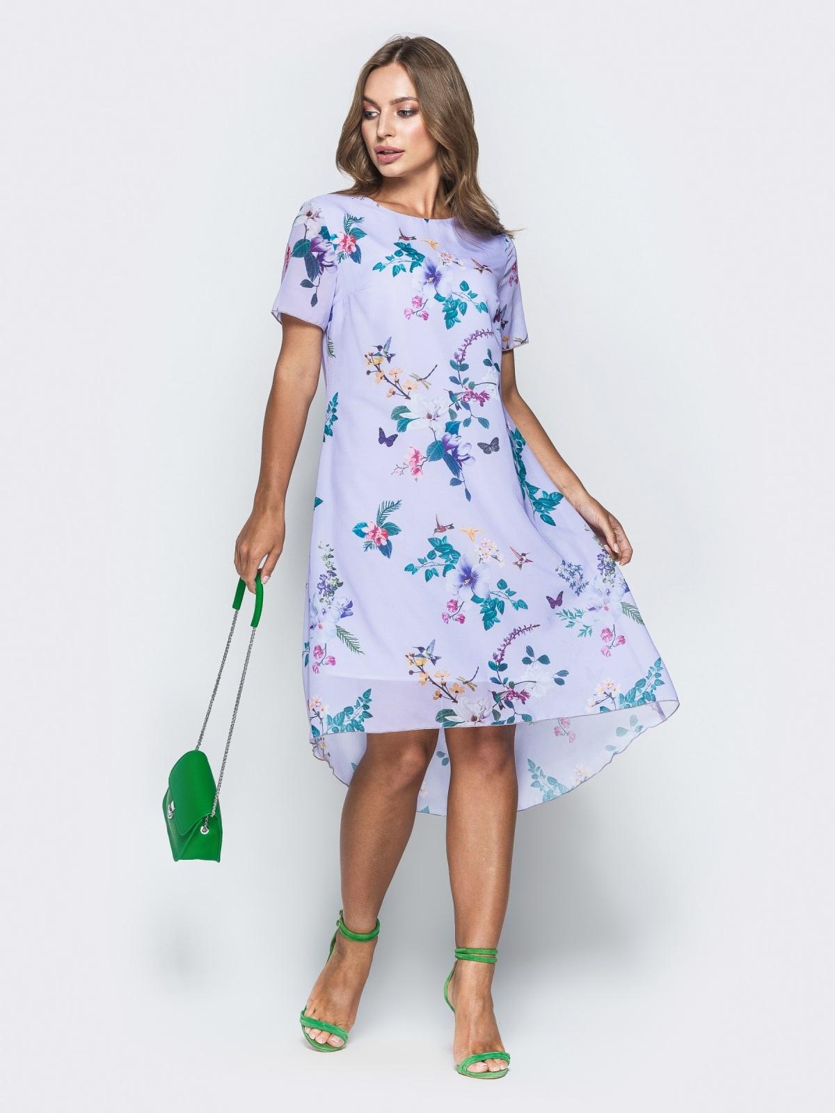 Сиреневое платье-трапеция из шифона с цветочным принтом - 38964, фото 1 – интернет-магазин Dressa