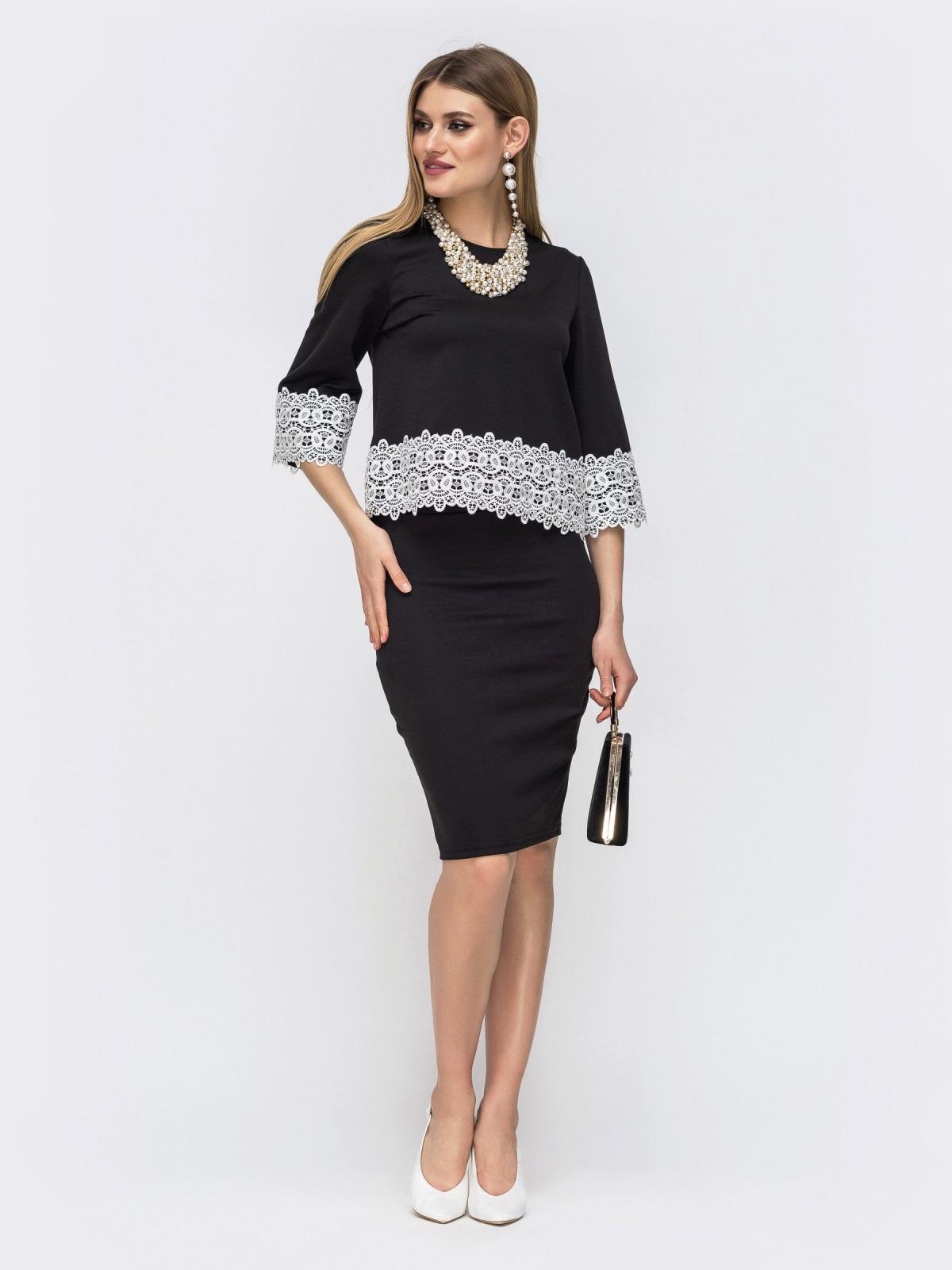 Чёрный комплект из юбки и кофты с кружевом по низу 42623, фото 1