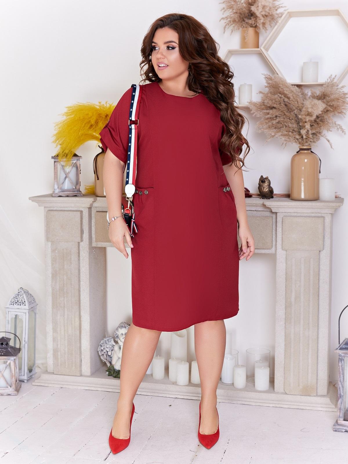 Приталенное платье батал с карманами бордовое 47711, фото 1