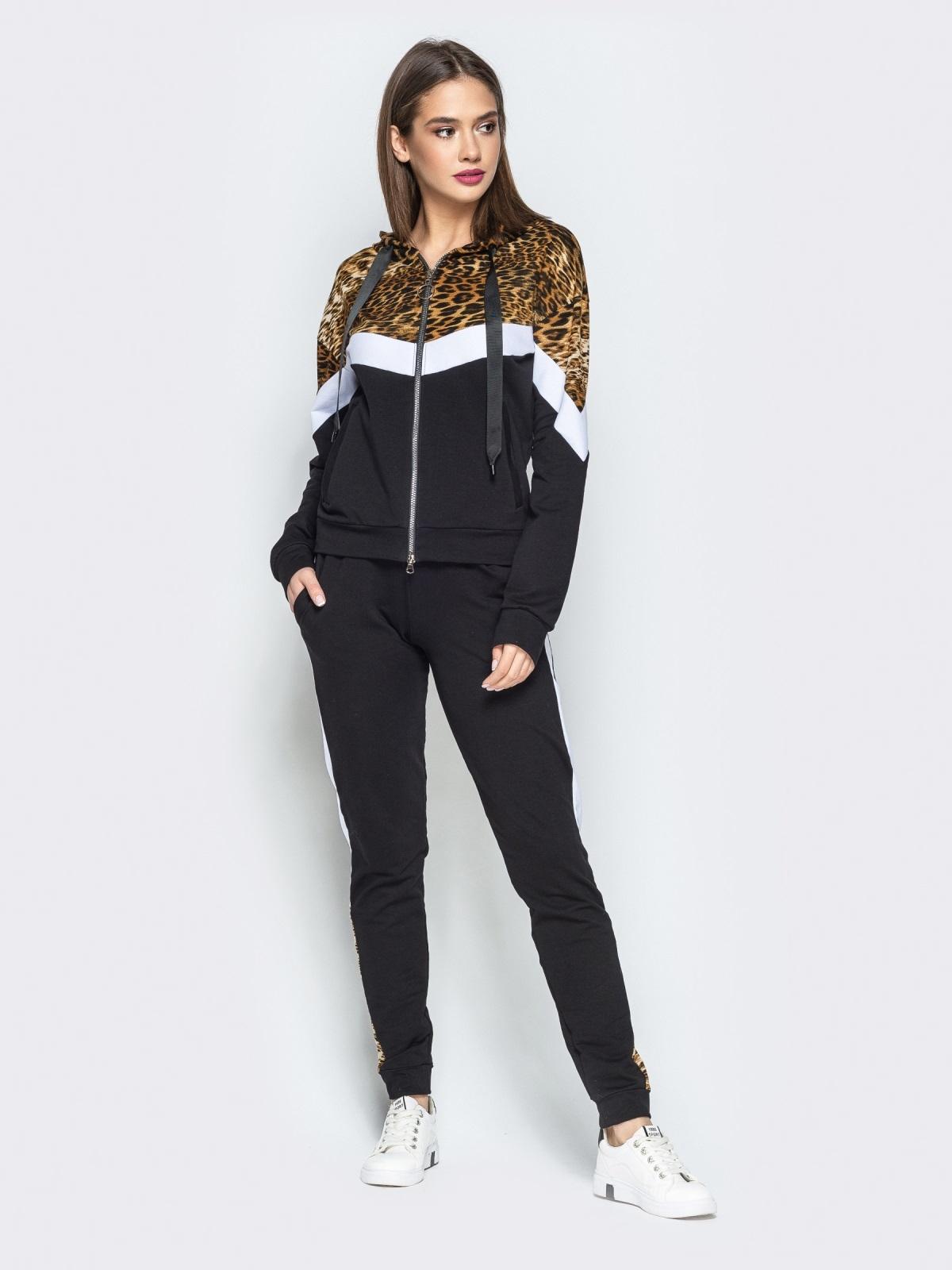 Спортивный костюм с леопардовым принтом на кофте чёрный - 25744, фото 1 – интернет-магазин Dressa