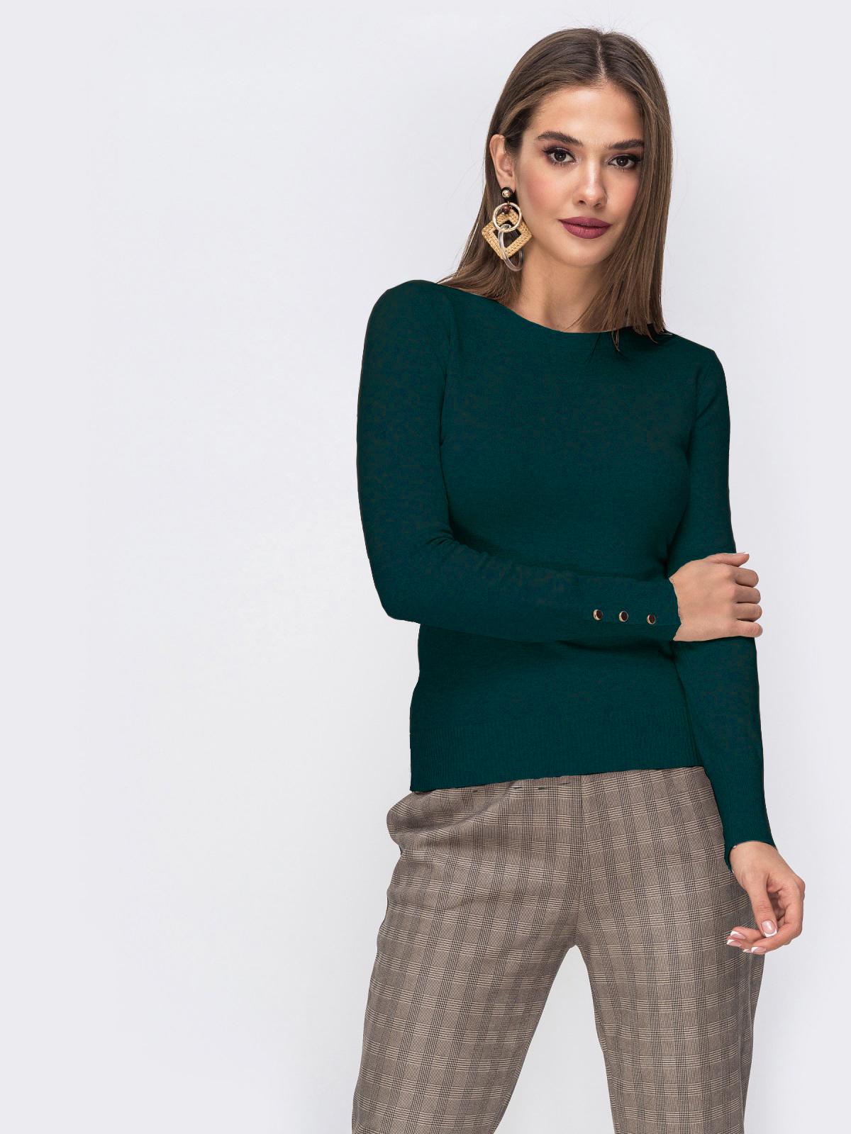 Зелёный джемпер из трикотажа с круглым вырезом - 42549, фото 1 – интернет-магазин Dressa