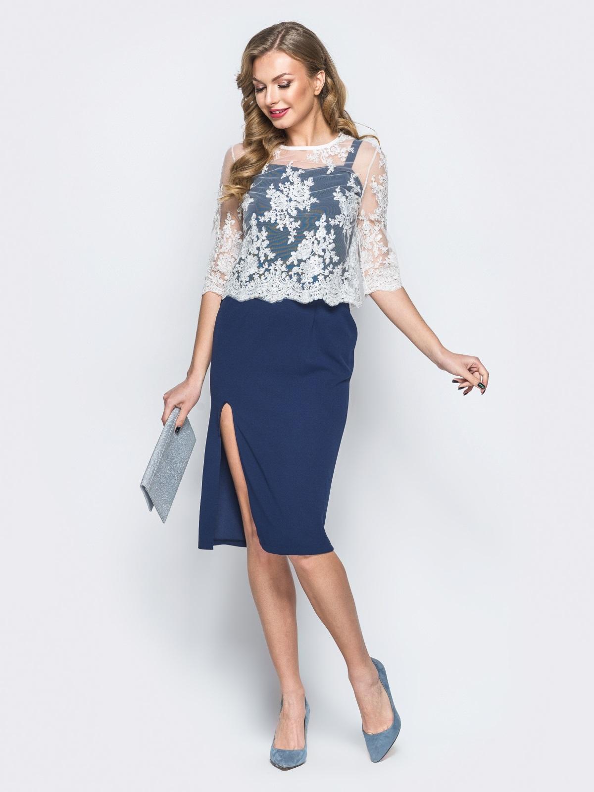 8f3458615a4d9 Платье тёмно-синего цвета с болеро в комплекте - 18293, фото 1 – интернет