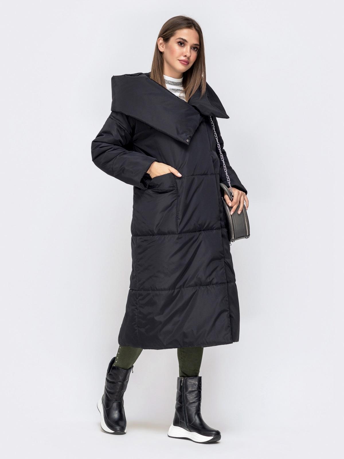Зимняя куртка со вшитым капюшоном и вязанными манжетами чёрная - 41248, фото 1 – интернет-магазин Dressa