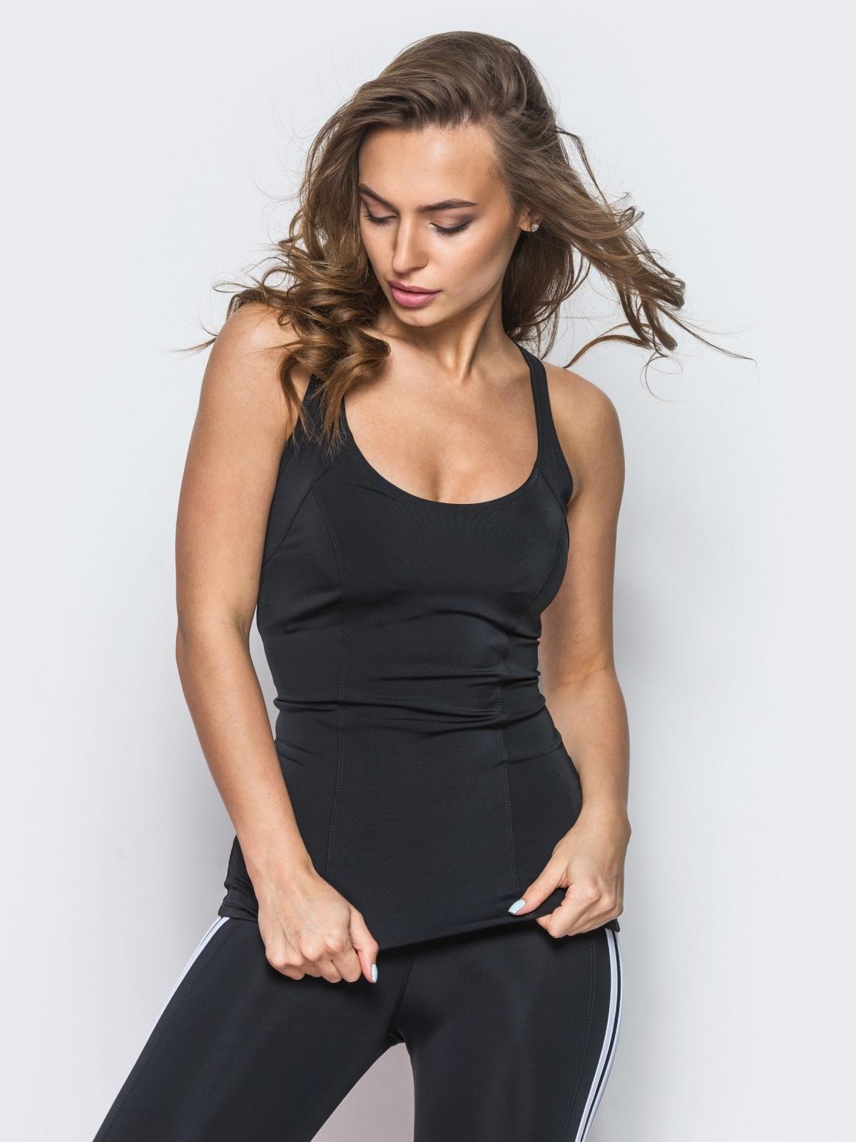 Спортивная майка без рукавов черная - 10682, фото 1 – интернет-магазин Dressa