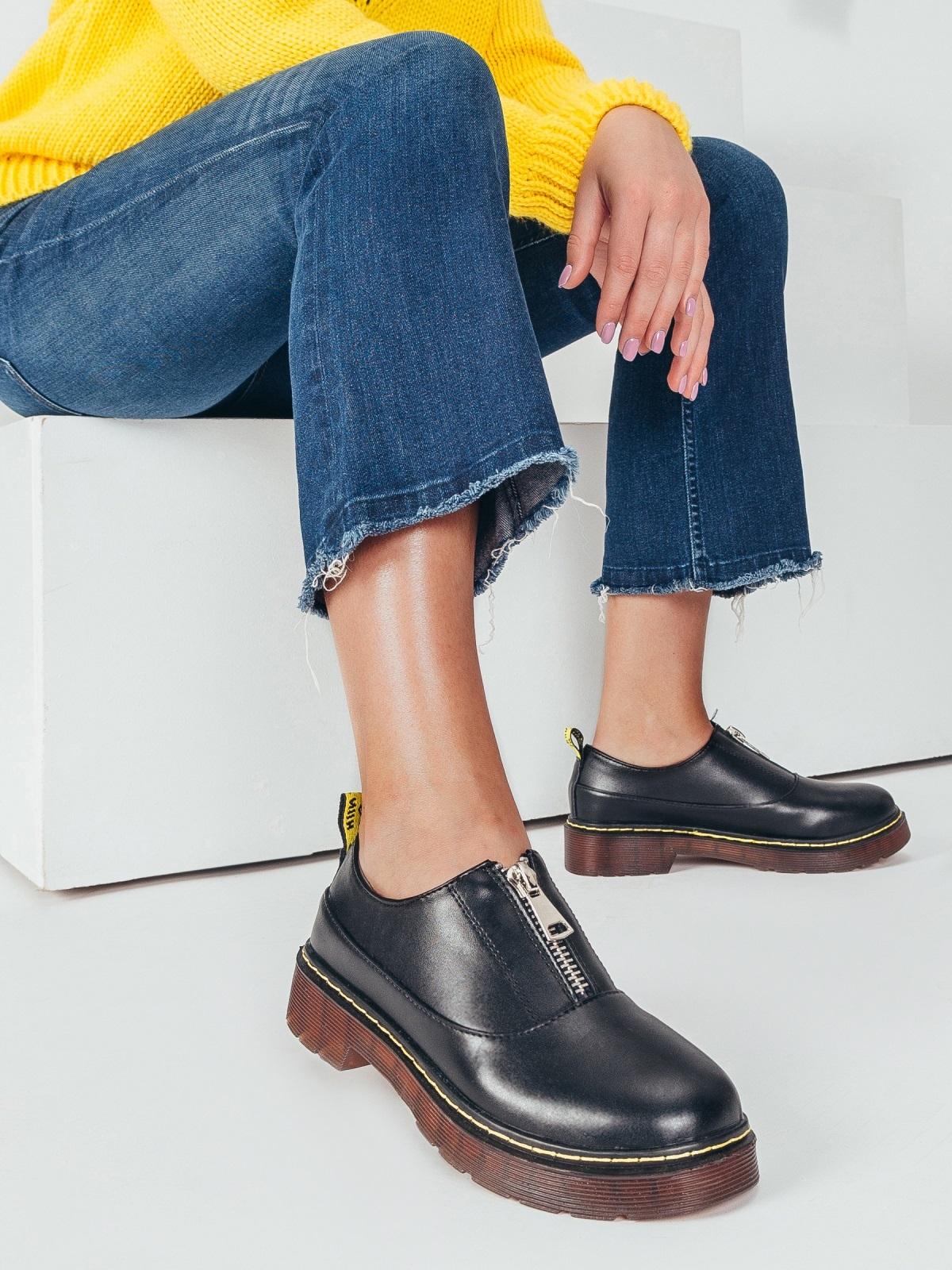 Черные туфли из искусственной кожи на массивной подошве 50594, фото 1
