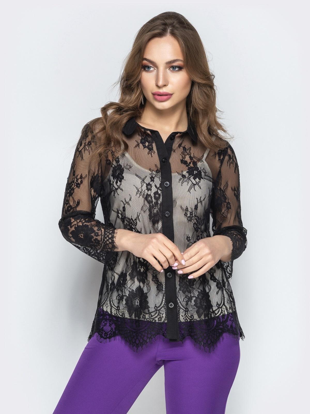 Кружевная блузка с топом из микромасла чёрная - 22200, фото 1 – интернет-магазин Dressa