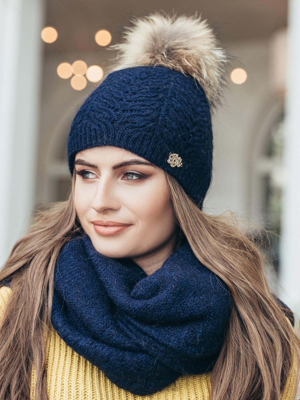 Темно-синий комплект из шапки и шарфа-палантина - 14937, фото 1 – интернет-магазин Dressa