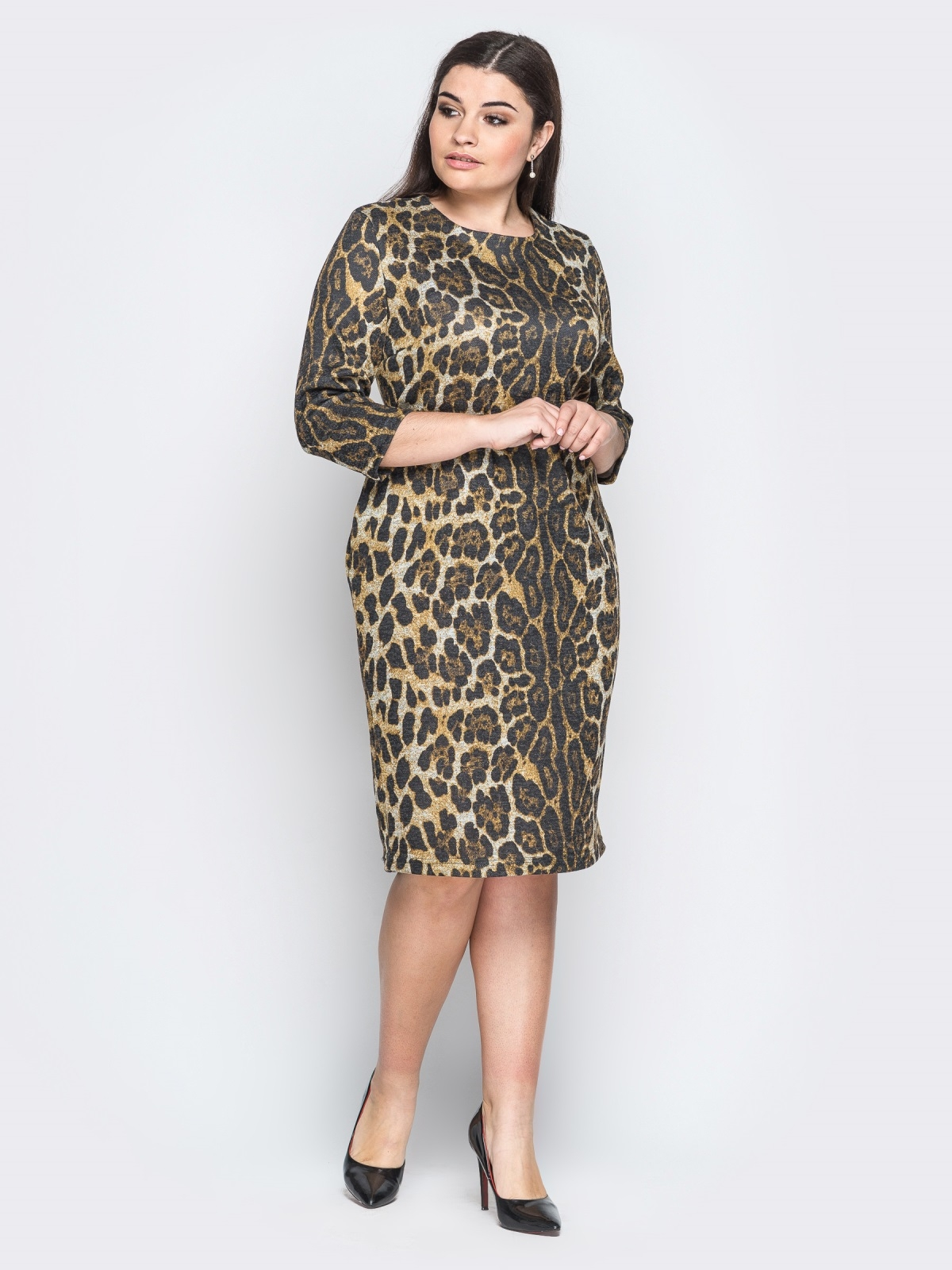 2a9934fca68 Ангоровое платье с леопардовым принтом коричневое 18369 – купить в ...