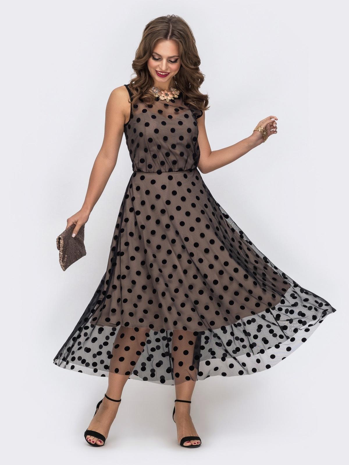 Бежевое платье приталенного кроя из фатина в горох - 43041, фото 1 – интернет-магазин Dressa