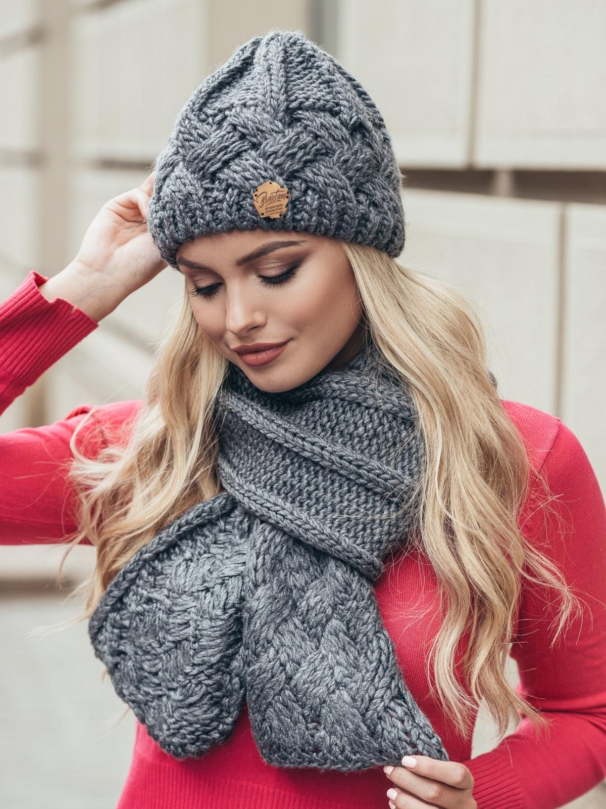 Комплект из шапки и шарфа темно-серый - 15568, фото 2 – интернет-магазин Dressa