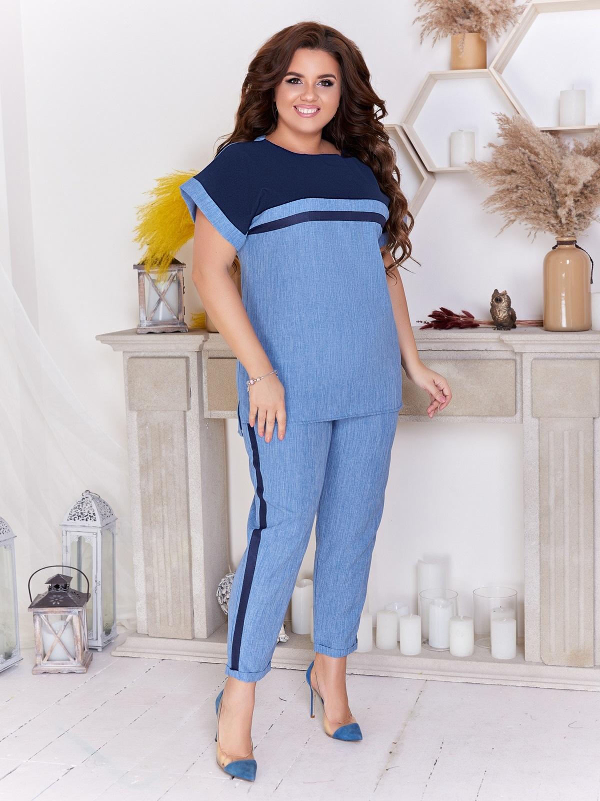 Брючный комплект большого размера с блузкой синий 47662, фото 1