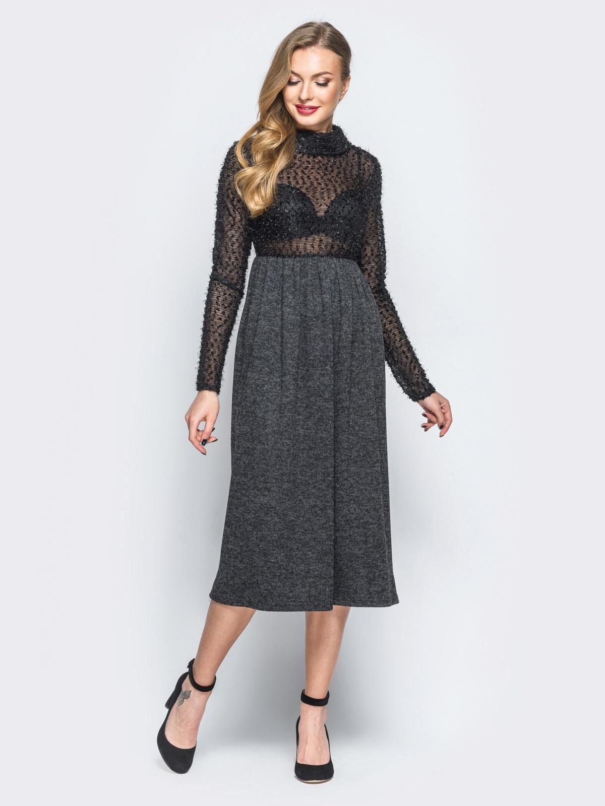 """Платье черного цвета с верхом из трикотажа """"травка"""" - 18141, фото 1 – интернет-магазин Dressa"""