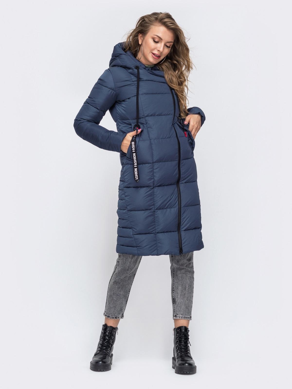 Зимняя куртка с капюшоном синяя 50666, фото 1