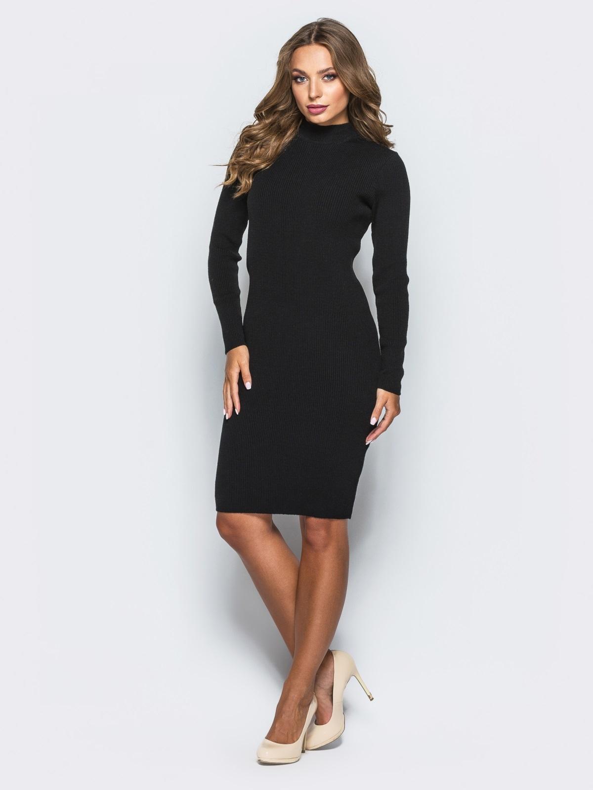 ce9dbc69ace Черное трикотажное платье в рубчик с длинными рукавами 15914 ...