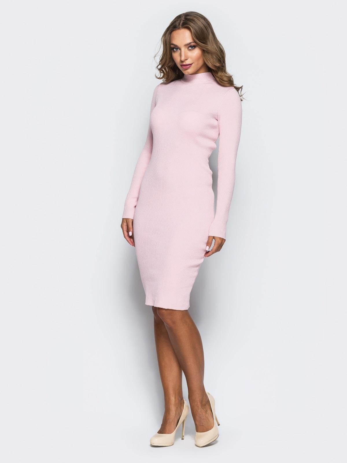 2da1732a530a956 Нежно-розовое трикотажное платье в рубчик с длинными рукавами - 15915, фото  1 –