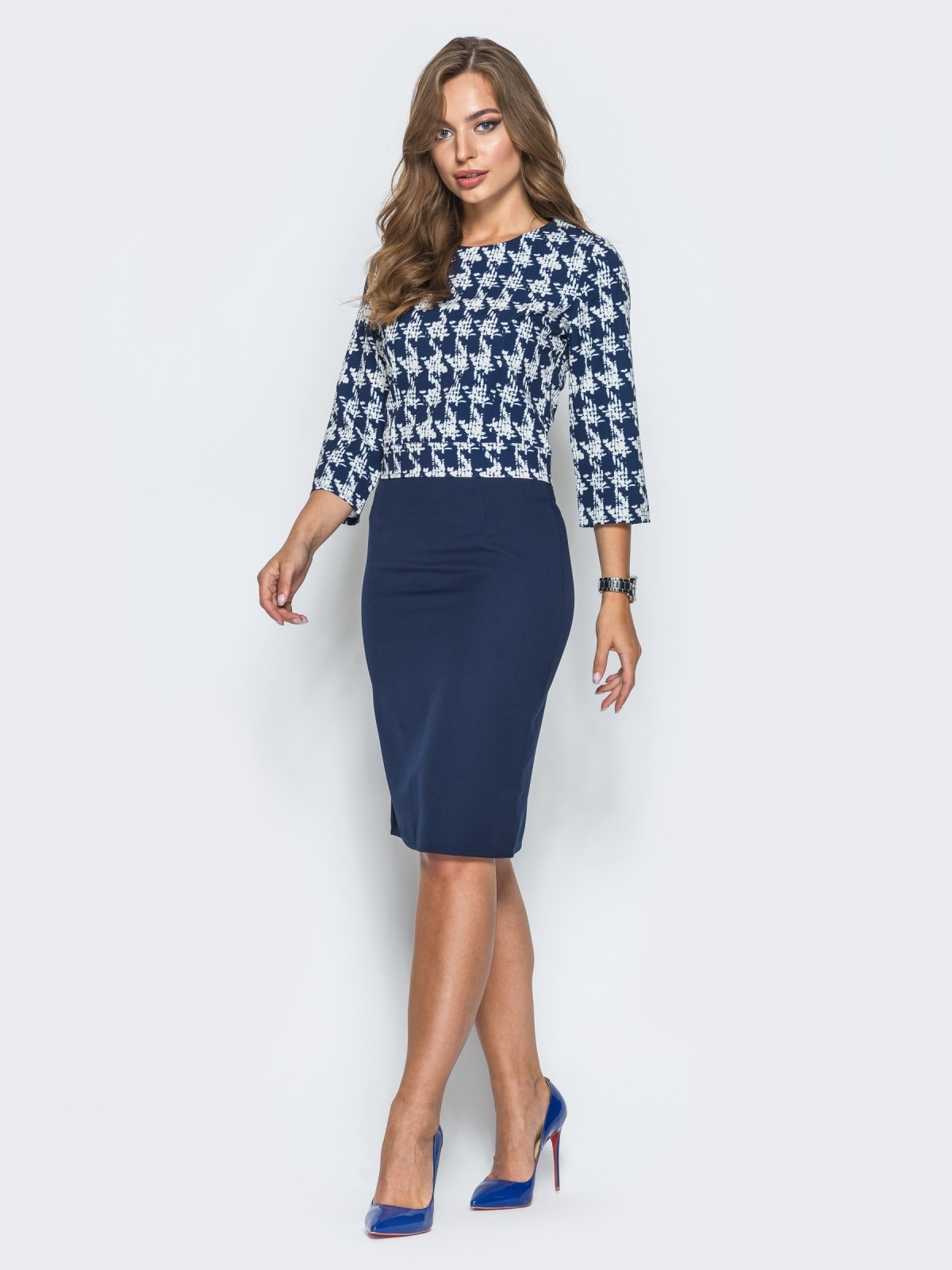 Тёмно-синий комплект с юбкой из костюмного крепа - 14474, фото 1 – интернет-магазин Dressa