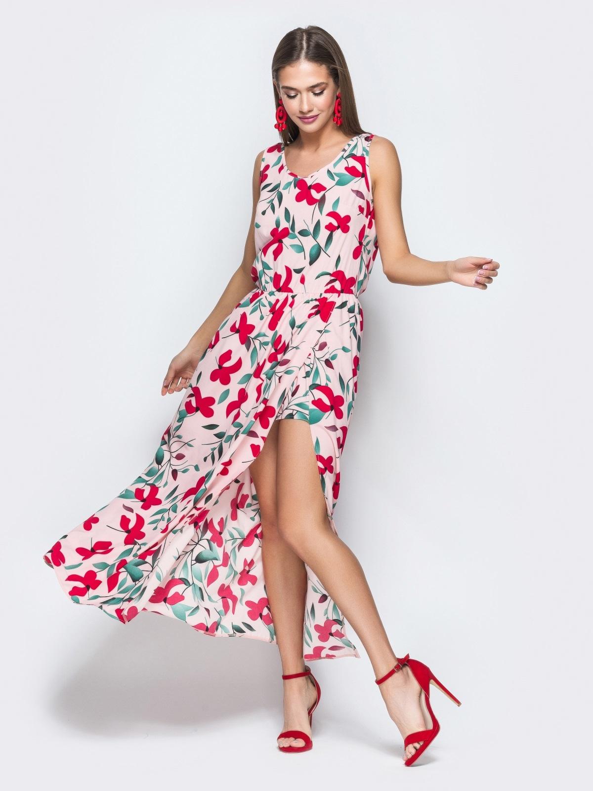 Розовое платье-макси с принтом и разрезом 38677, фото 1