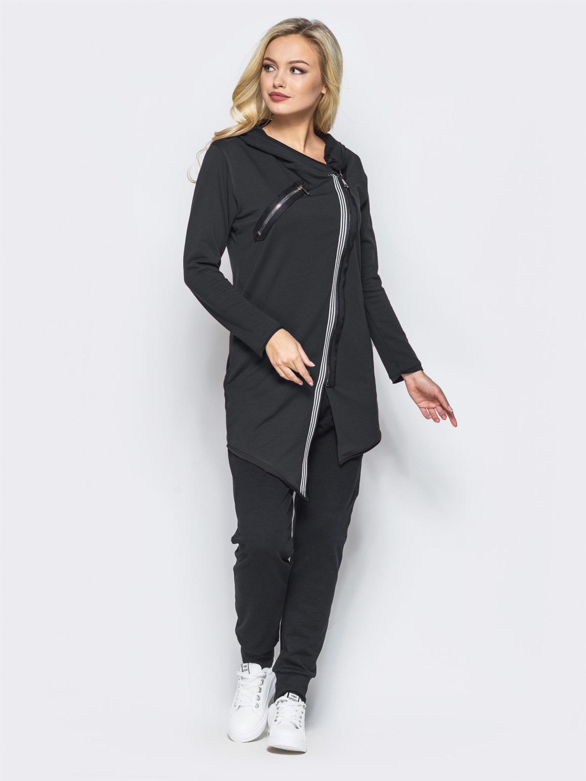 Спортивный костюм с косой молнией на черной кофте - 15761, фото 1 – интернет-магазин Dressa