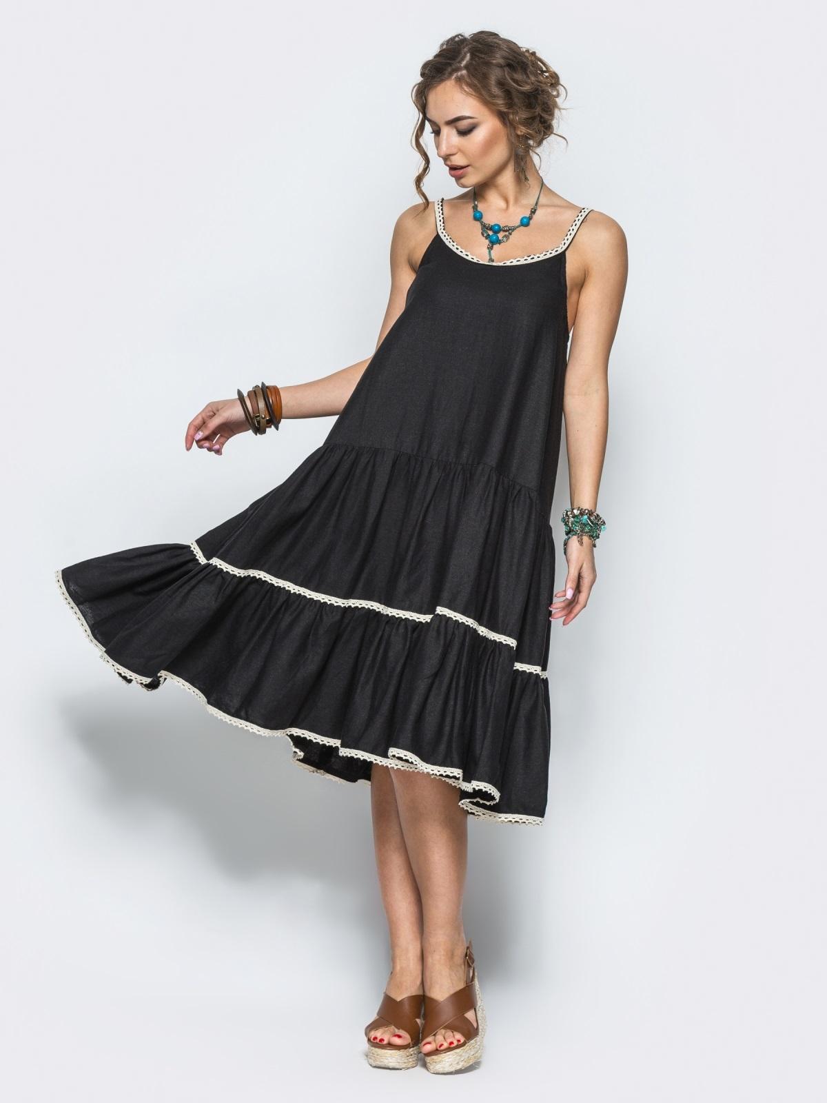 Черное льняное платье с оборкой по низу и кружевом - 12573, фото 2 – интернет-магазин Dressa
