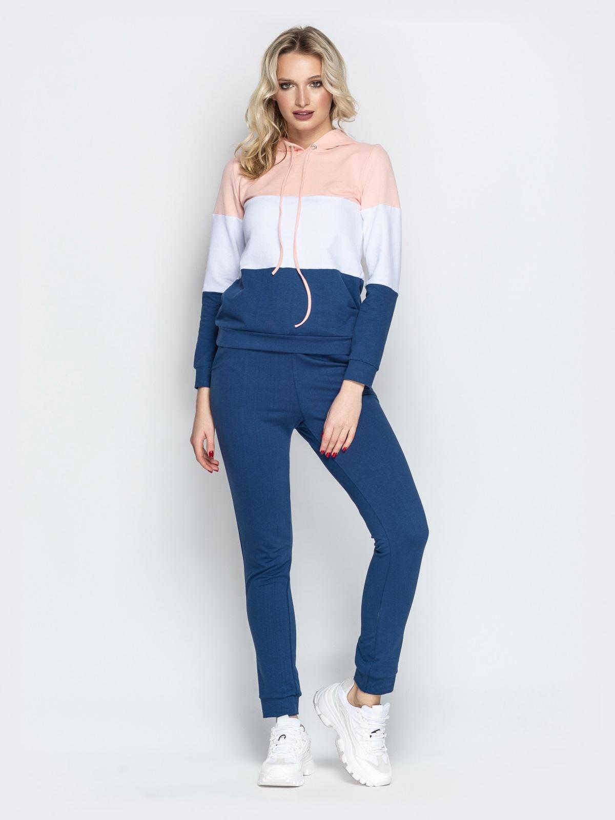 Спортивный костюм с контарстными вставками на кофте синий - 21307, фото 1 – интернет-магазин Dressa