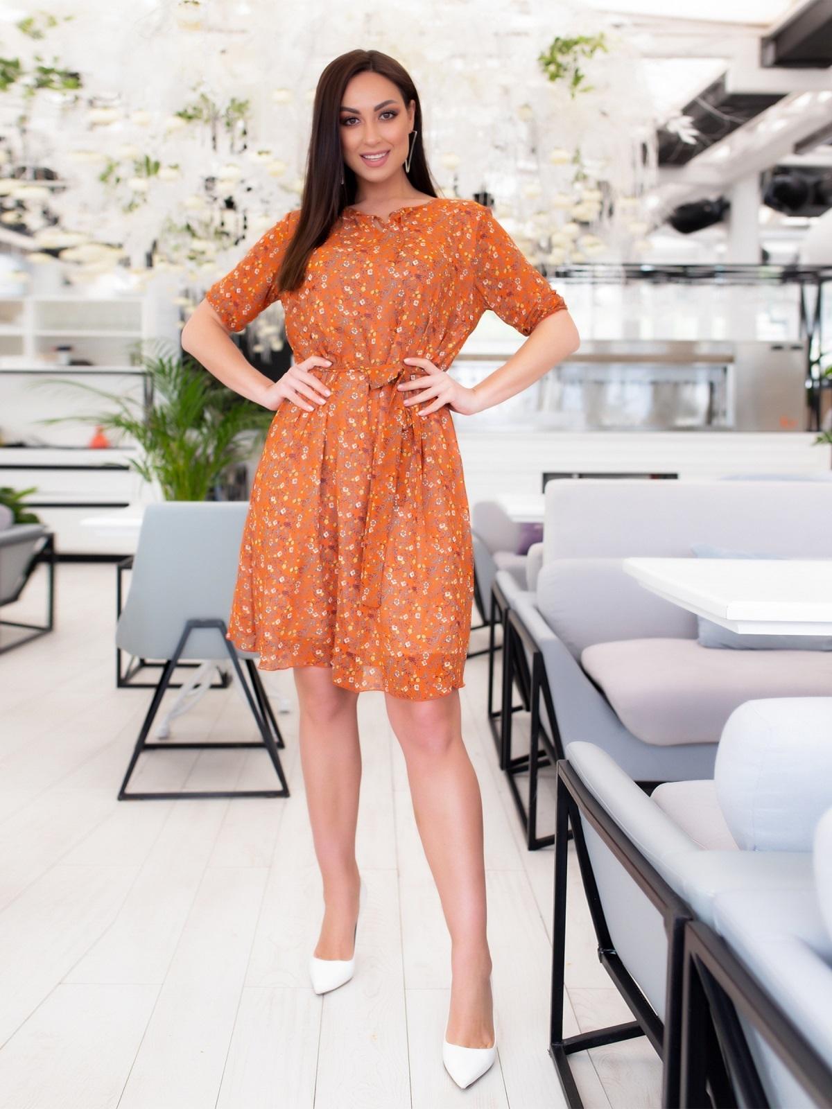 Шифоновое платье батал с принтом оранжевое 46504, фото 1