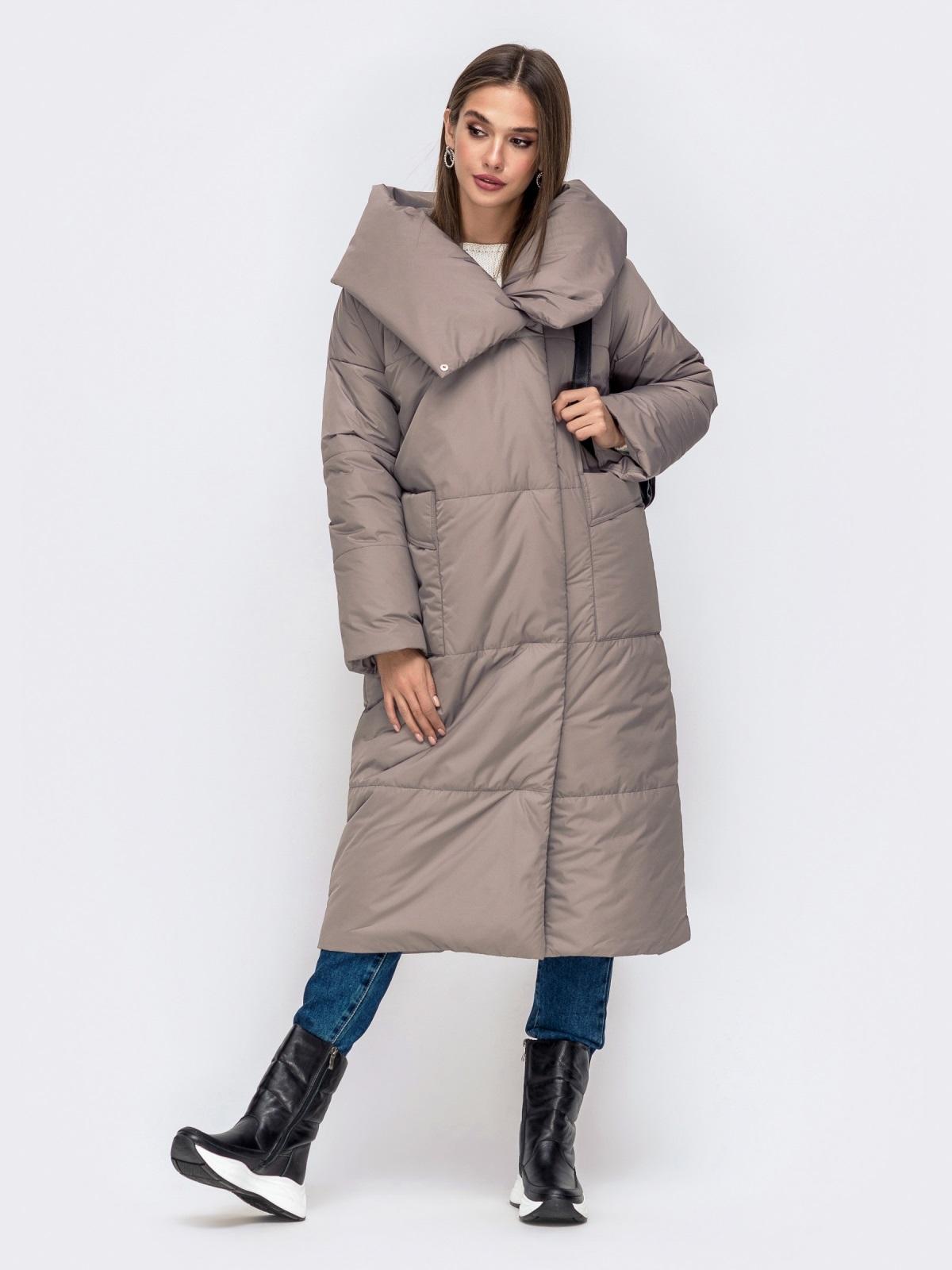 Зимняя куртка со вшитым капюшоном и вязанными манжетами серая 41249, фото 1