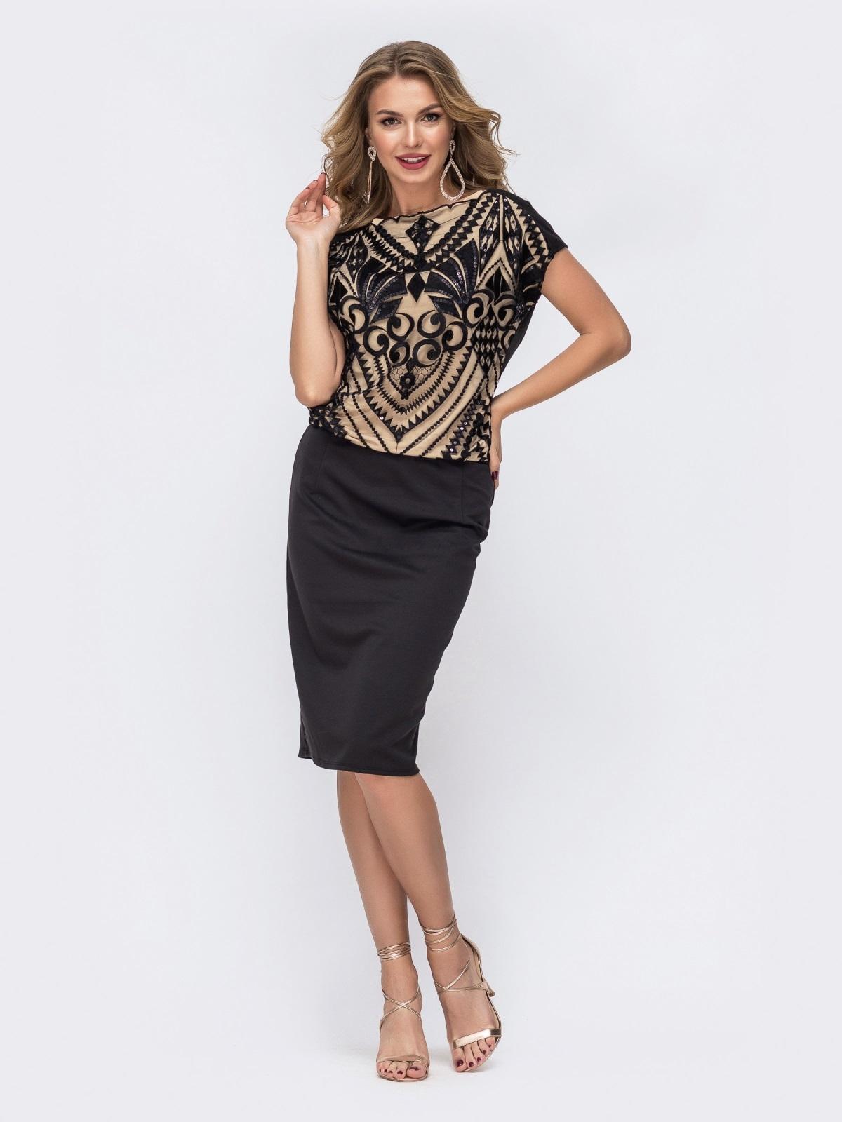 Чёрное платье с пайетками и напуском по талии - 42844, фото 1 – интернет-магазин Dressa